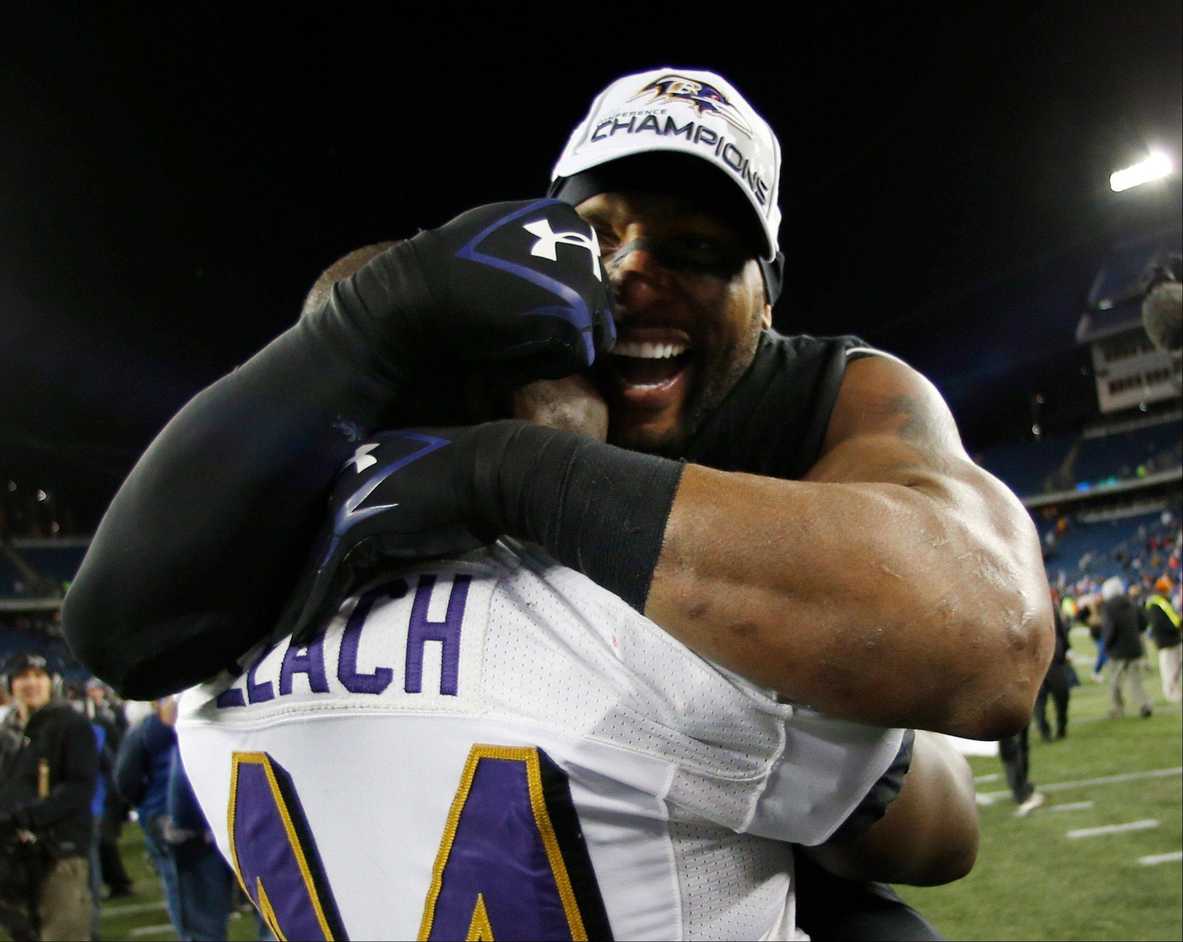 Baltimore Ravens inside linebacker Ray Lewis, right, celebrates with Vonta Leach (44) after the NFL football AFC Championship football game against the New England Patriots in Foxborough, Mass., Sunday, Jan. 20, 2013. The Ravens defeated the Patriots 28-13 to advance to Super Bowl XLVII.