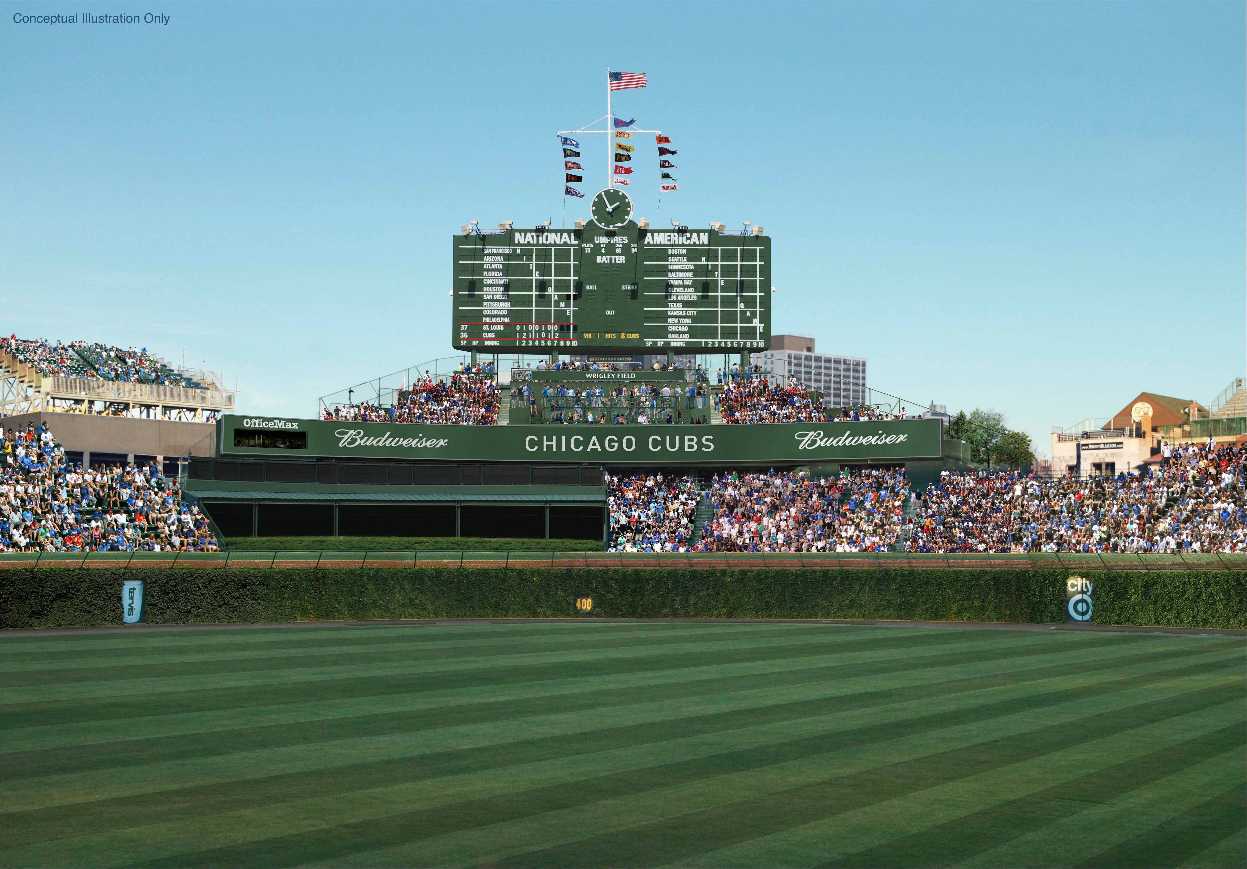 This is a view of the proposed center-field area at Wrigley Field.