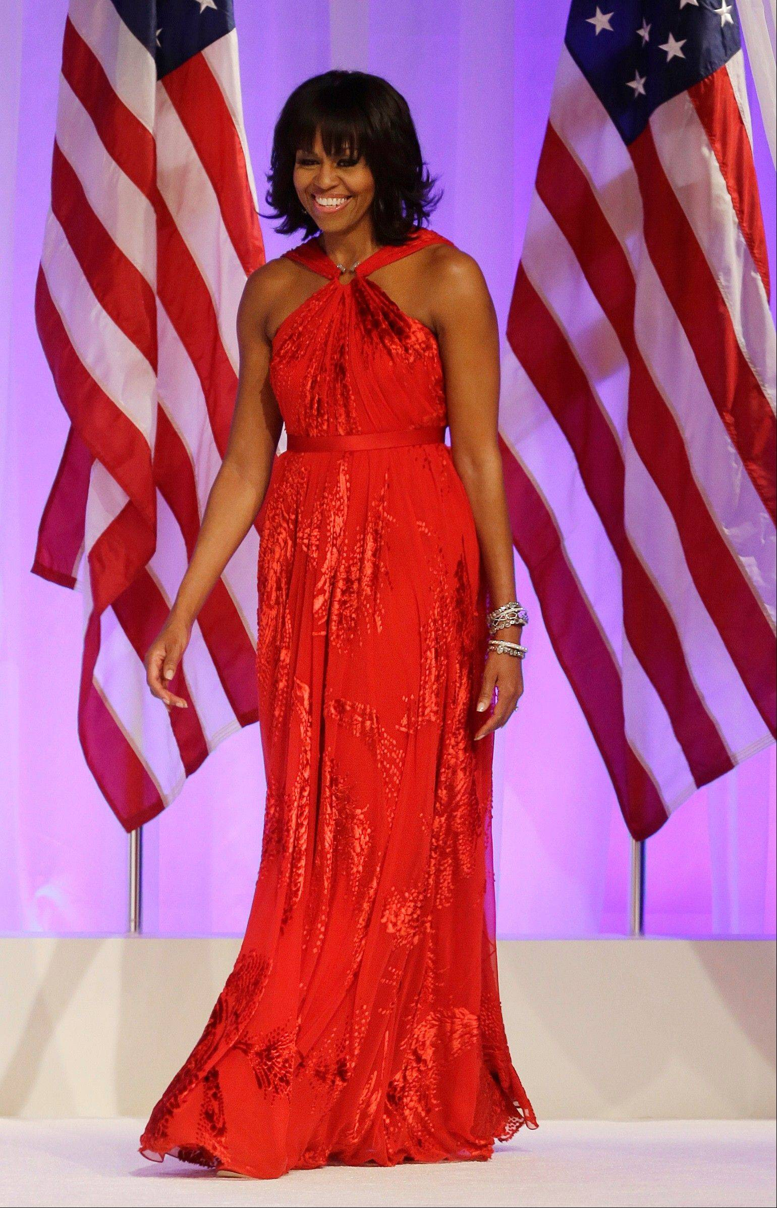 First lady Michelle Obama arrives at the Commander-in-Chief's Inaugural Ball at the 57th Presidential Inauguration in Washington on Monday evening.