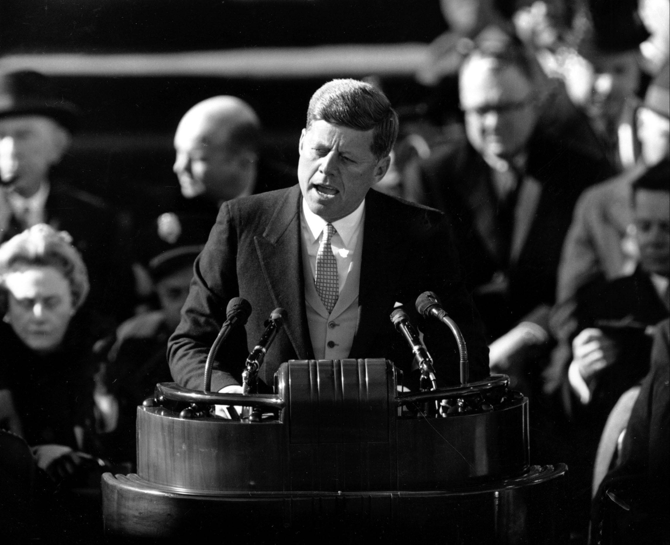 This Jan. 20, 1961 black-and-white file photo shows President John F. Kennedy delivering his inaugural address after taking the oath of office, on Capitol Hill in Washington. Sixteen presidents before Barack Obama got a second chance at giving an inaugural address for the ages. Most didnít make much of it. Abraham Lincoln is the grand exception.