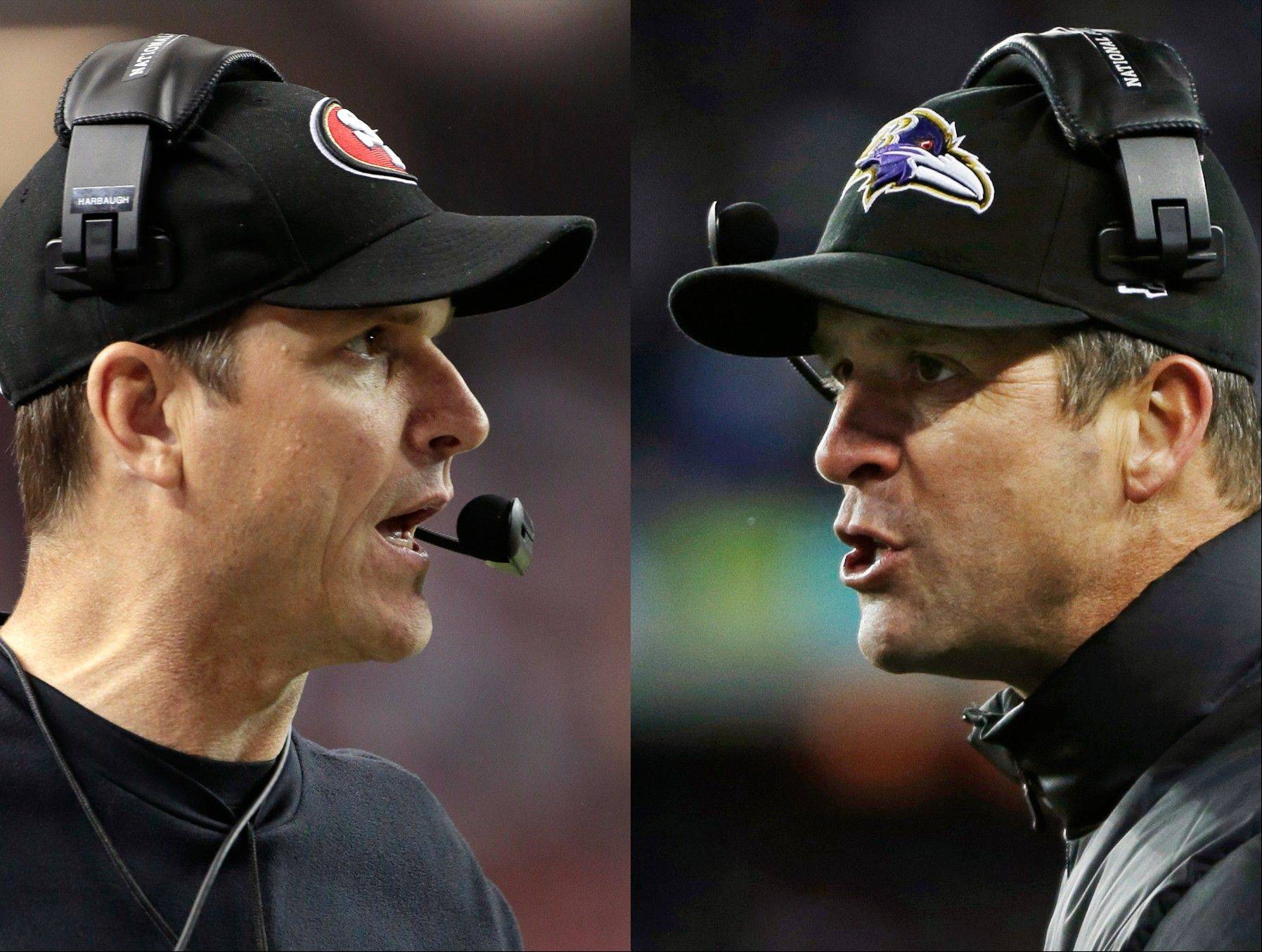 San Francisco 49ers head coach Jim Harbaugh, left, in Atlanta, and Baltimore Ravens head coach John Harbaugh in Foxborough, Mass., during their NFL football conference championship games. Get ready for the Brother Bowl � it�ll be Harbaugh vs. Harbaugh when Big Bro John�s Baltimore Ravens (13-6) play Little Bro Jim�s San Francisco 49ers (13-4-1) in the Super Bowl at New Orleans in two weeks.