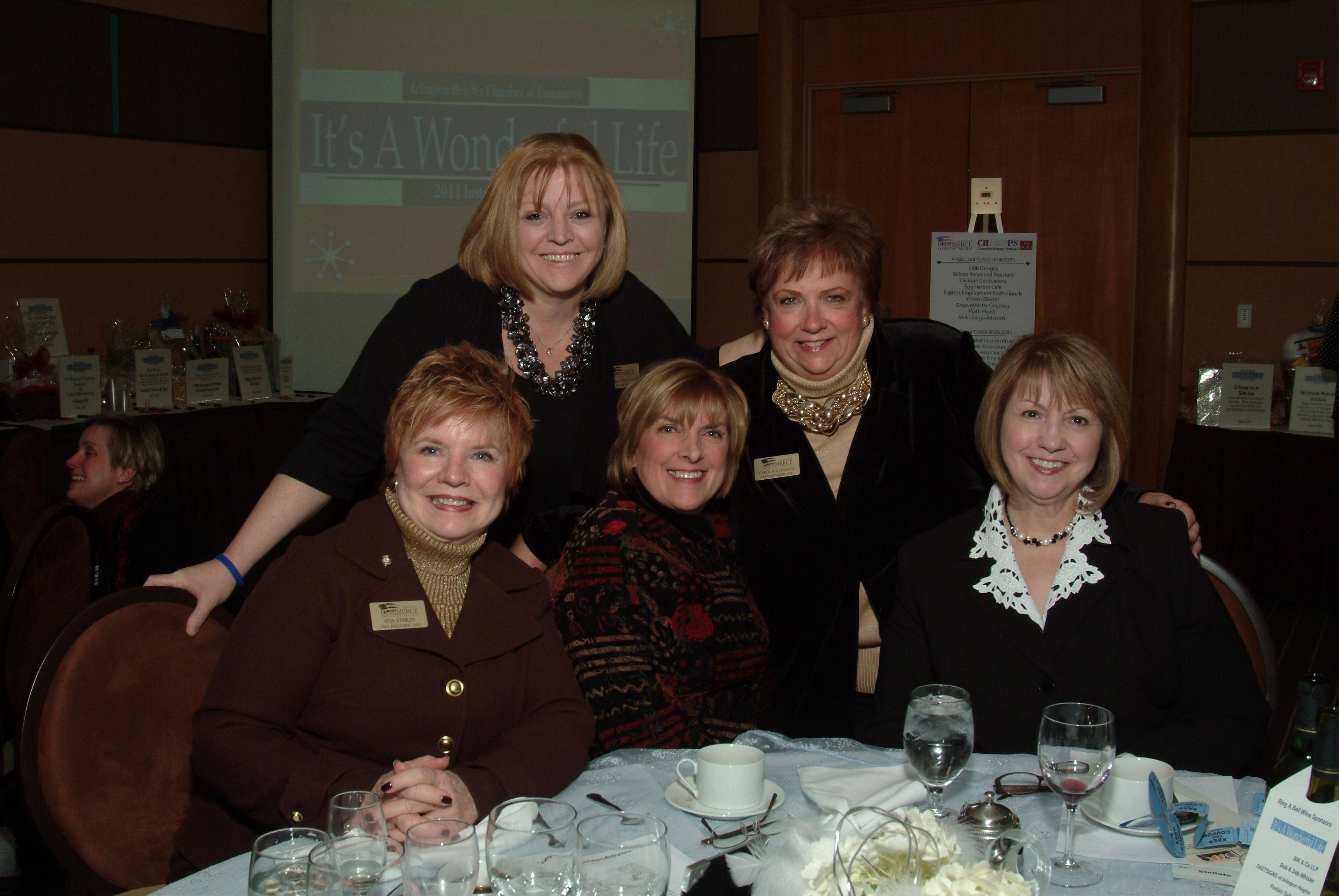 Dianna Ehrenfried, back row, left, with some other prominent Arlington Heights area women at the 2012 installation dinner. Beside her in back is Arlington Heights Trustee Carol Blackwood. In front, from left, Kristine Stabler-Nieman, vice president of community affairs for Arlington Park; Lauree Harp, chairwoman of the Arlington Heights recent quasquicentennial celebration; and Jo Stellato, the Wheeling Township administrator.