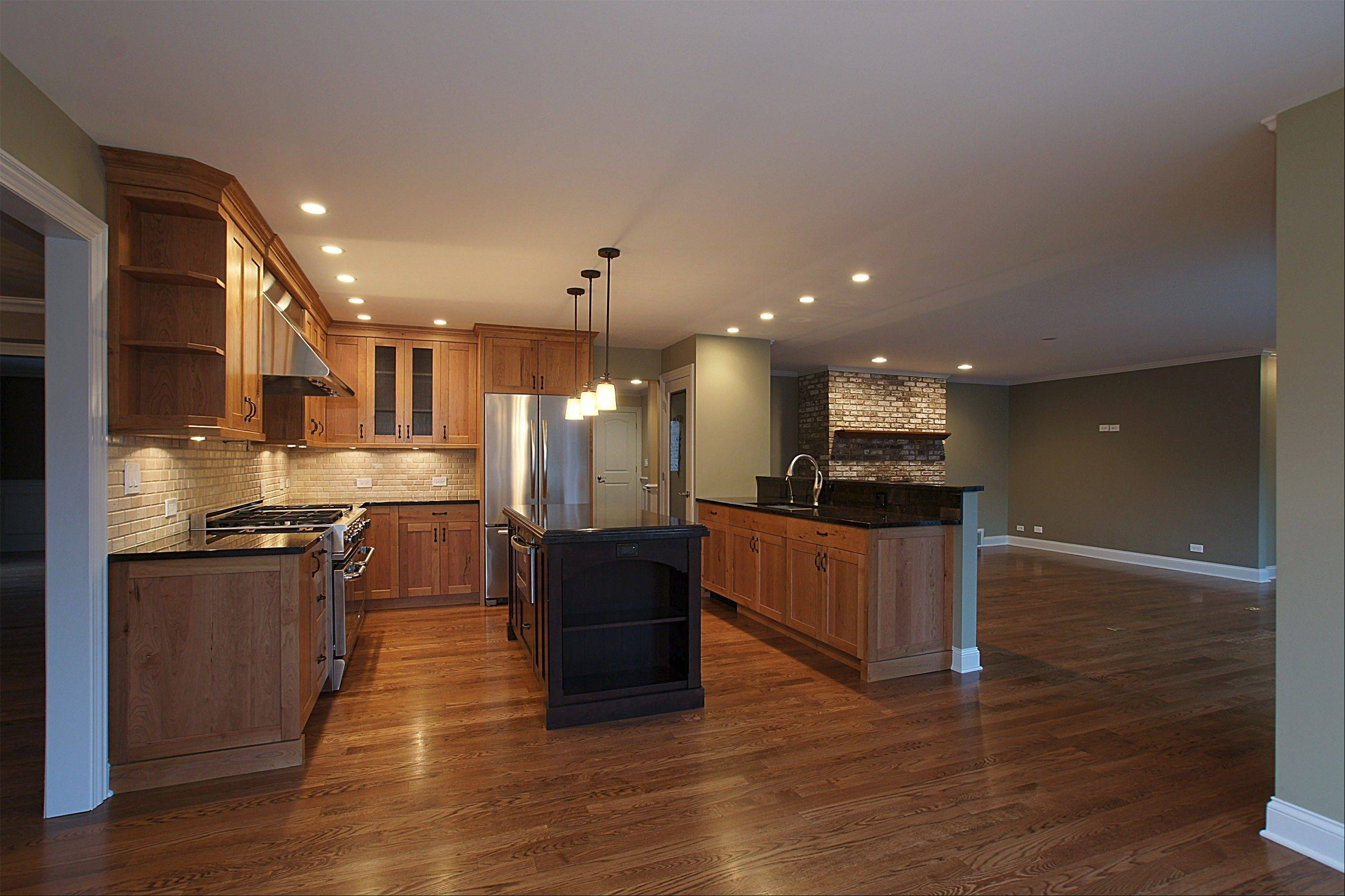 The home's kitchen and hardwood floors have been updated.