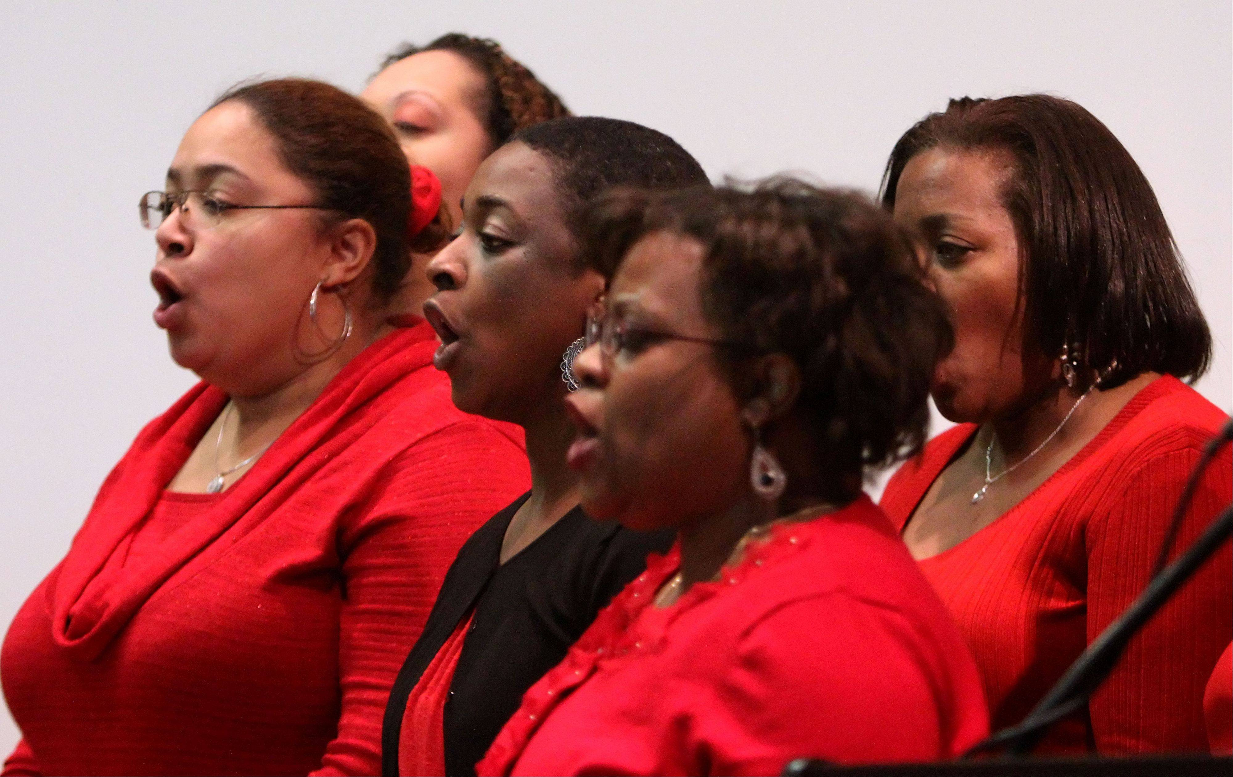 Members of Glenn Johnson & The Voices of Inner Peace perform during Lake Forest College's annual Martin Luther King Jr. program at Lily Reid Holt Memorial Chapel Monday.