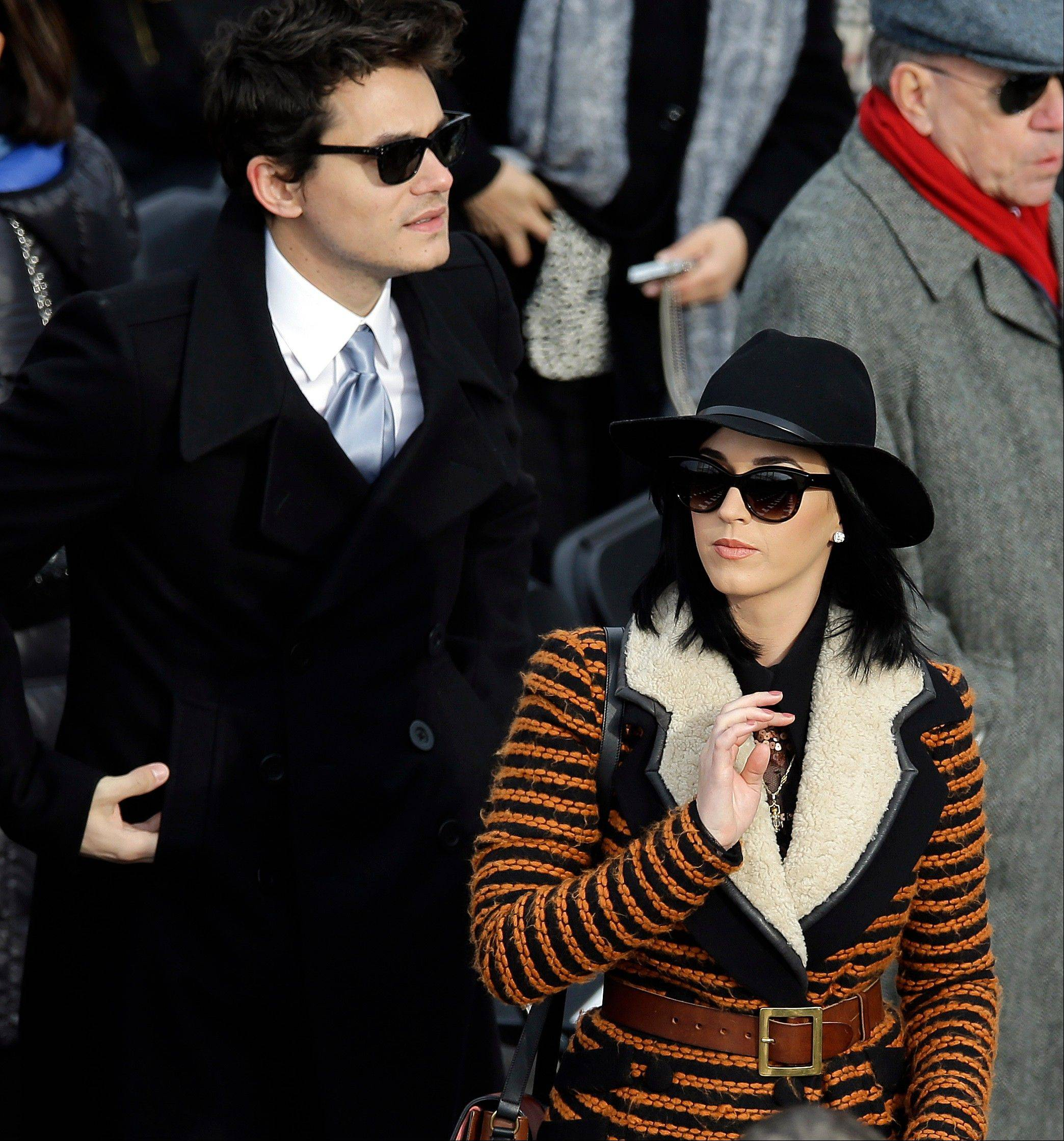 John Mayer and Katy Perry arrives for the ceremonial swearing-in of President Barack Obama at the U.S. Capitol during the 57th Presidential Inauguration in Washington, Monday, Jan. 21, 2013.