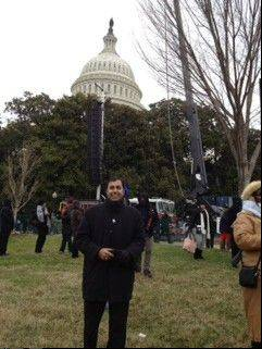 "Hoffman Estates Democrat Raja Krishnamoorthi stands in front of the U.S. Capitol on inauguration day. He said the day made him feel ""extremely proud to be an American."""