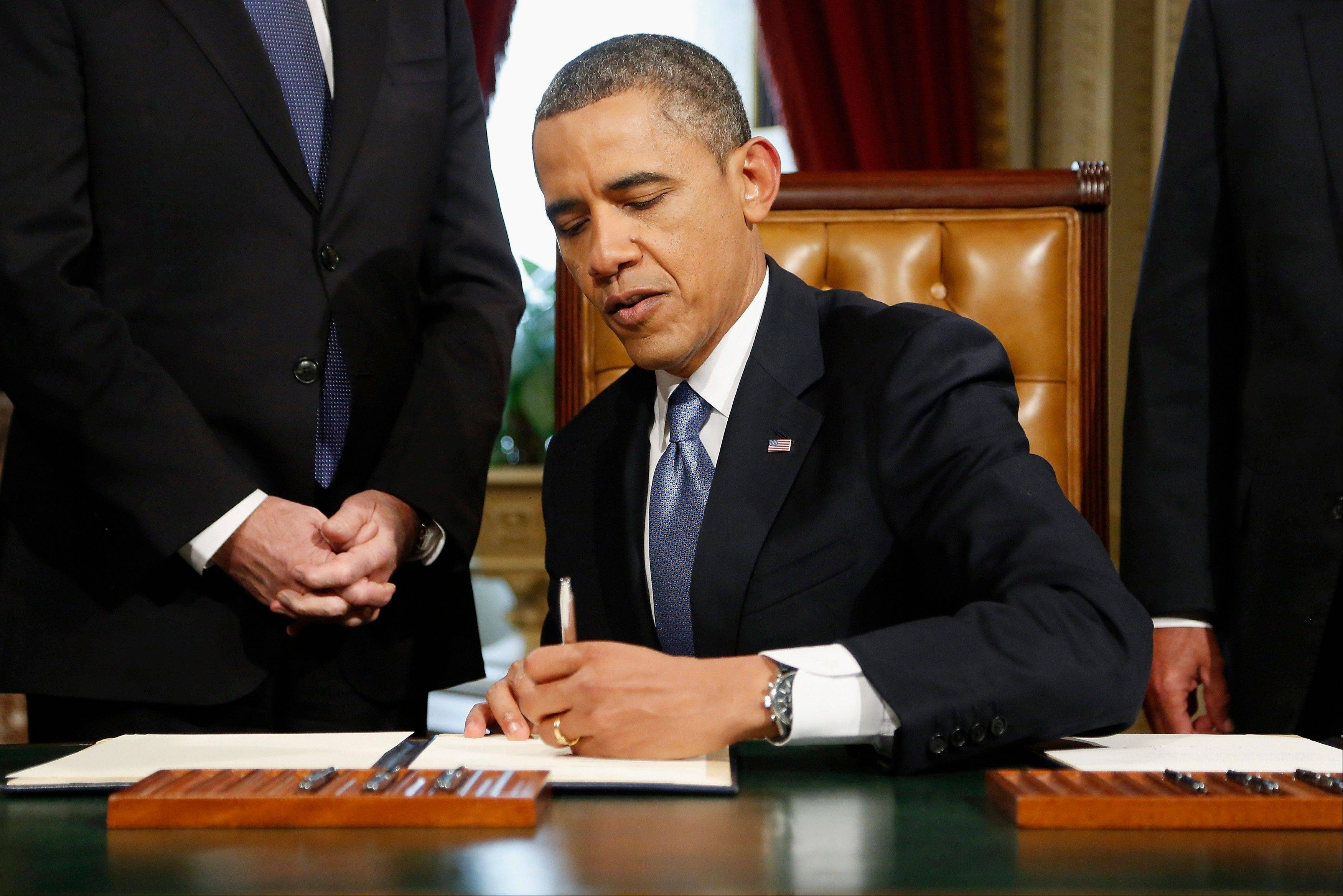 President Barack Obama signs nominations on Capitol Hill Monday for Sen. John Kerry to be his nominee for secretary of State; White House Chief of Staff Jacob Lew to be his nominee for Treasury secretary, former Sen. Chuck Hagel to be his nominee for Defense secretary and John Brennan to be his nominee to be CIA director, after his ceremonial swearing-in ceremony.