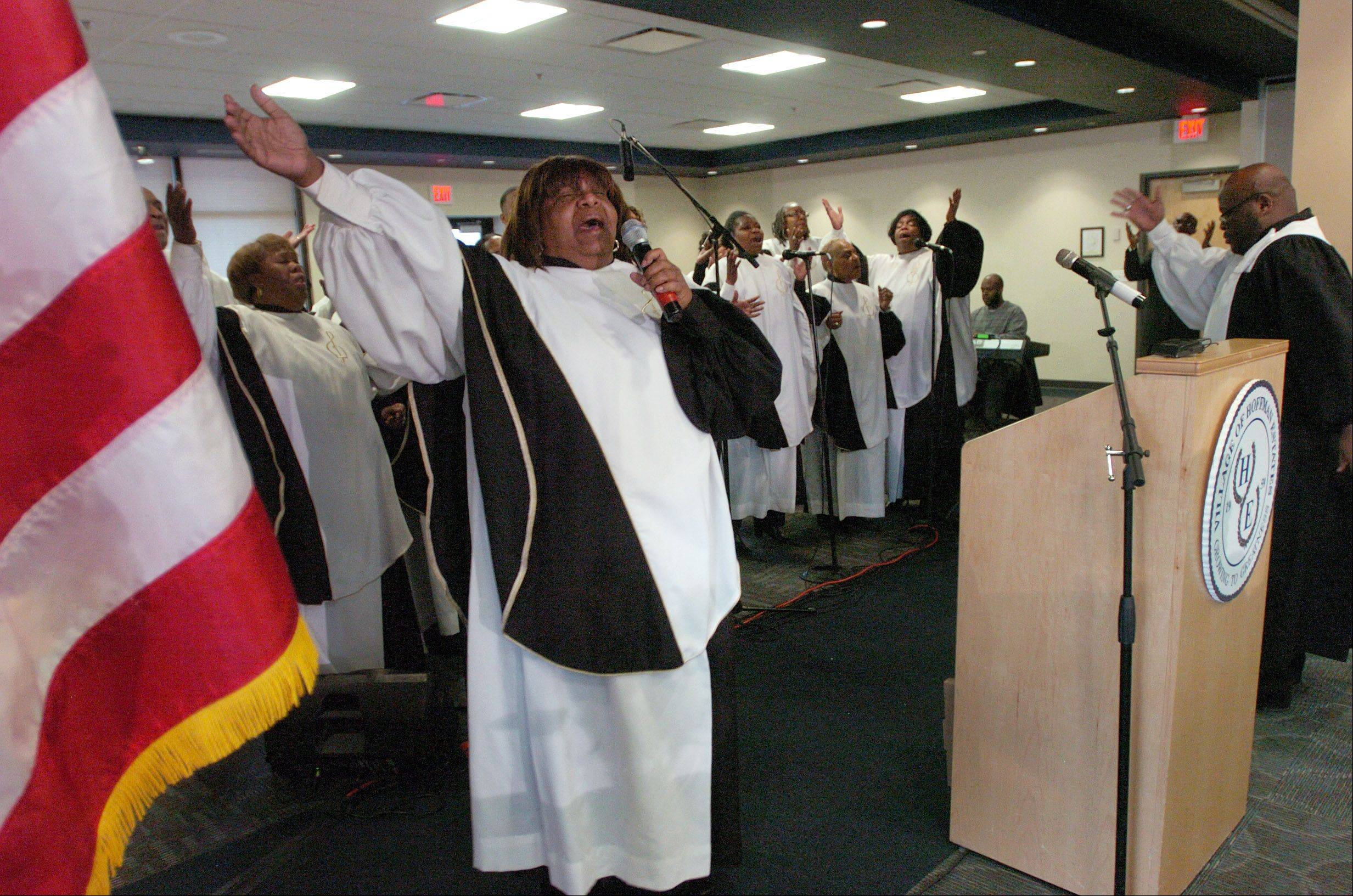 Regina Randle of the Sears Holdings Associate Gospel Choir solos during their performance in Hoffman Estates Monday morning.