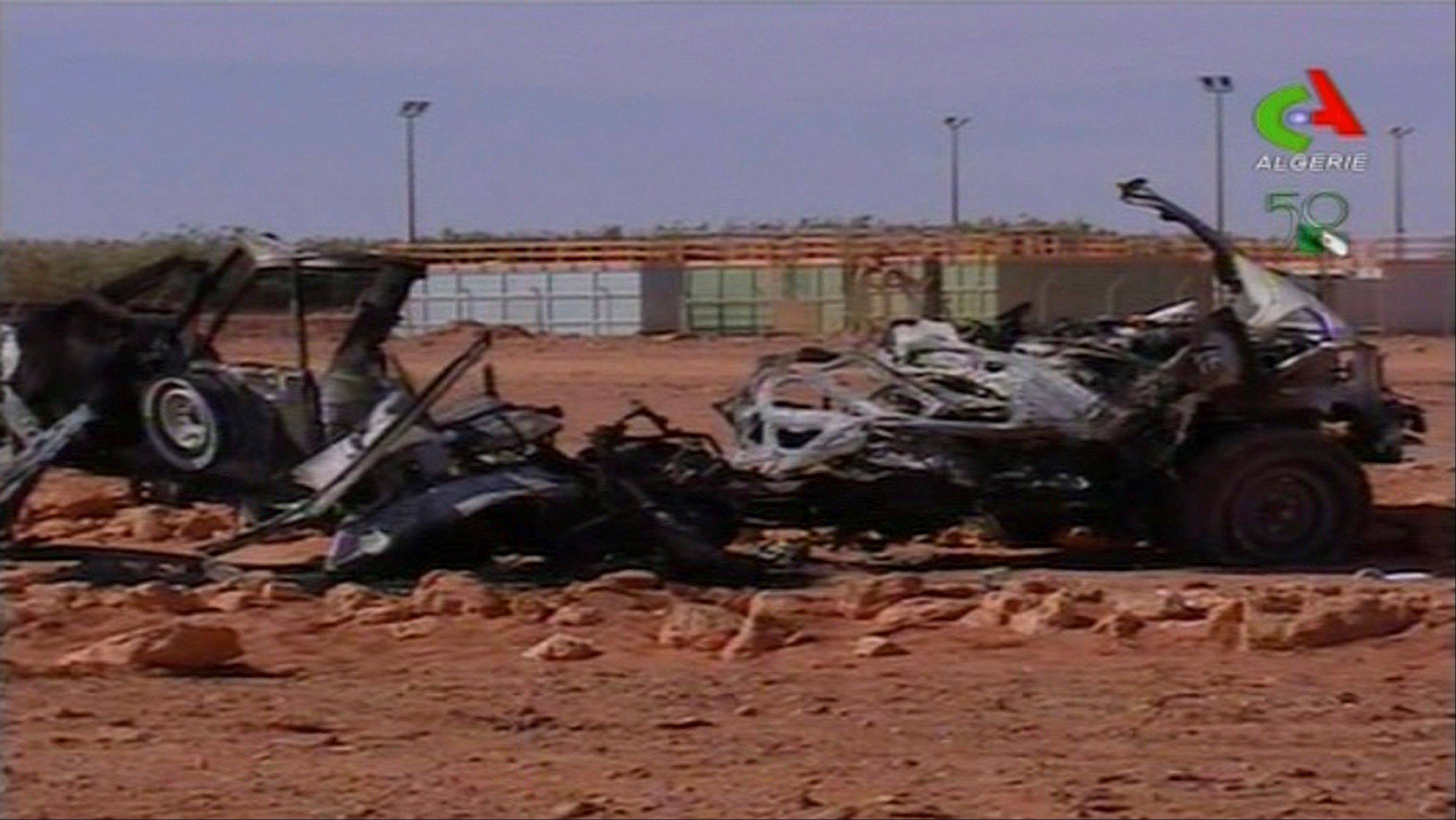 This image taken from Algerian TV broadcast on Sunday shows what it said was the aftermath of the hostage crisis at the remote Ain Amenas gas facility in Algeria. Algerian special forces stormed the plant on Saturday to end the four-day siege, moving in to thwart what government officials said was a plot by the Islamic extremists to blow up the complex and kill all their captives with mines sown throughout the site.