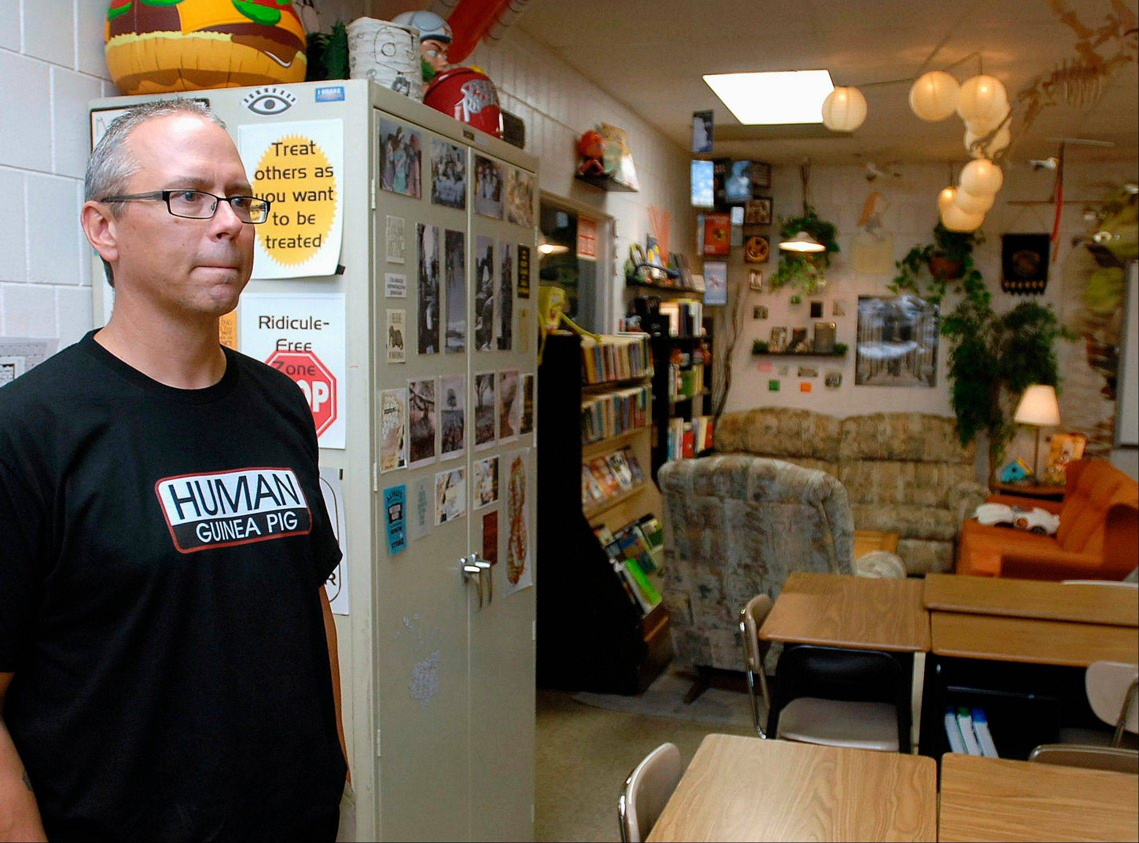 Dave McMorris stands in his Parkside Junior High School class room in Normal.