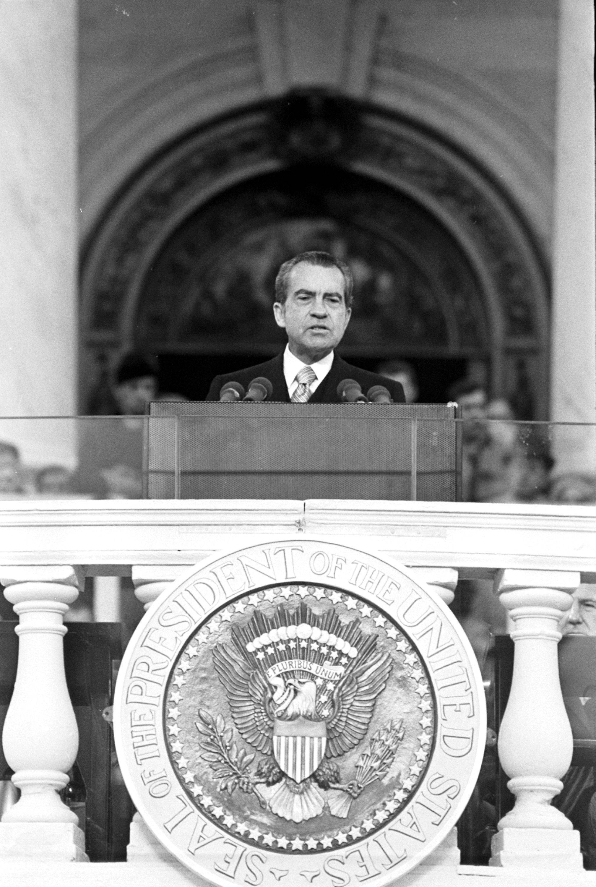 President Richard M. Nixon delivers his inaugural address, January 20, 1973, saying the world stands on the threshold of a new era of peace.