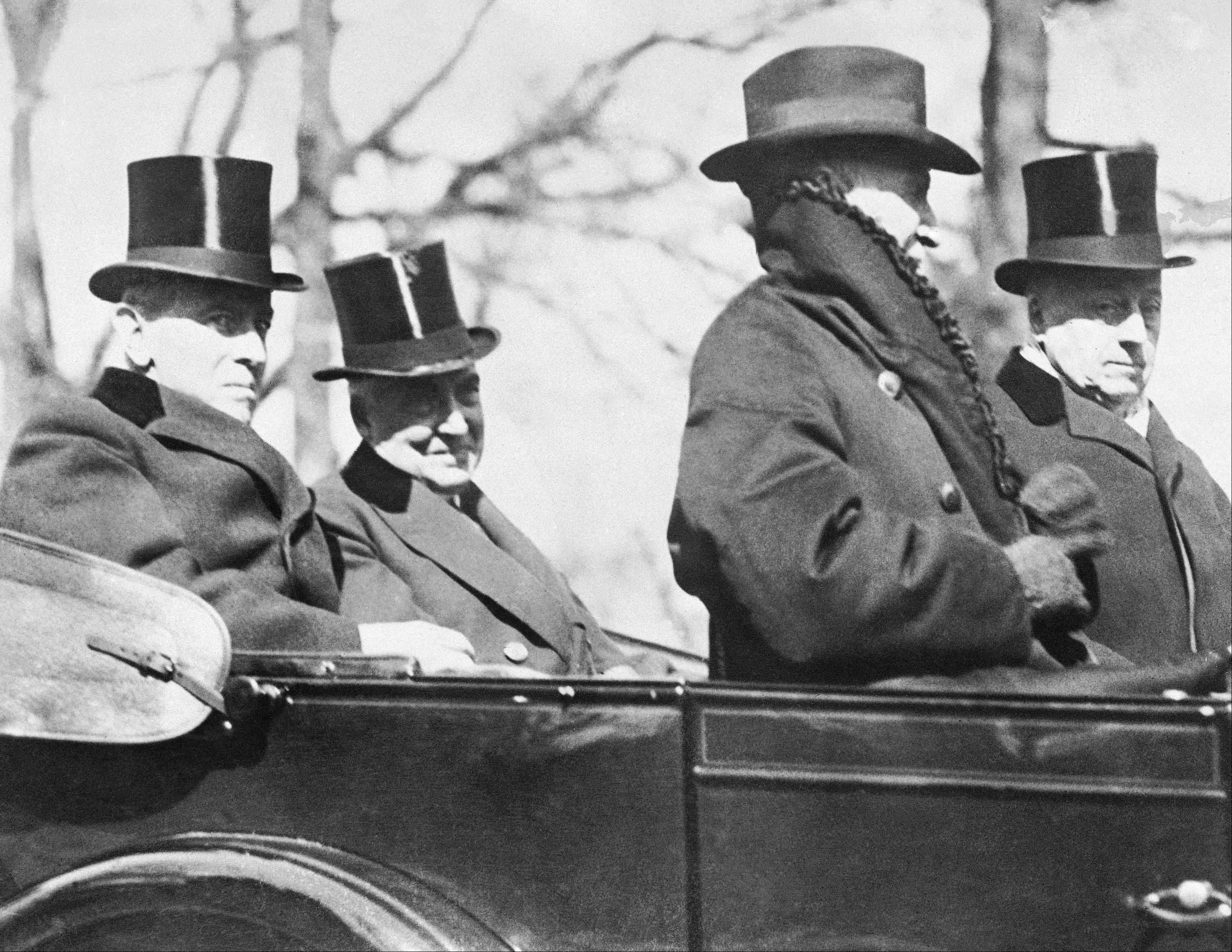 The retiring 28th President Woodrow Wilson, rides with his successor, Warren Gamaliel Harding, to the latter's inauguration, March 4, 1921. Because of his weakened condition, Mr. Wilson was unable to attend the inauguration of his successor.