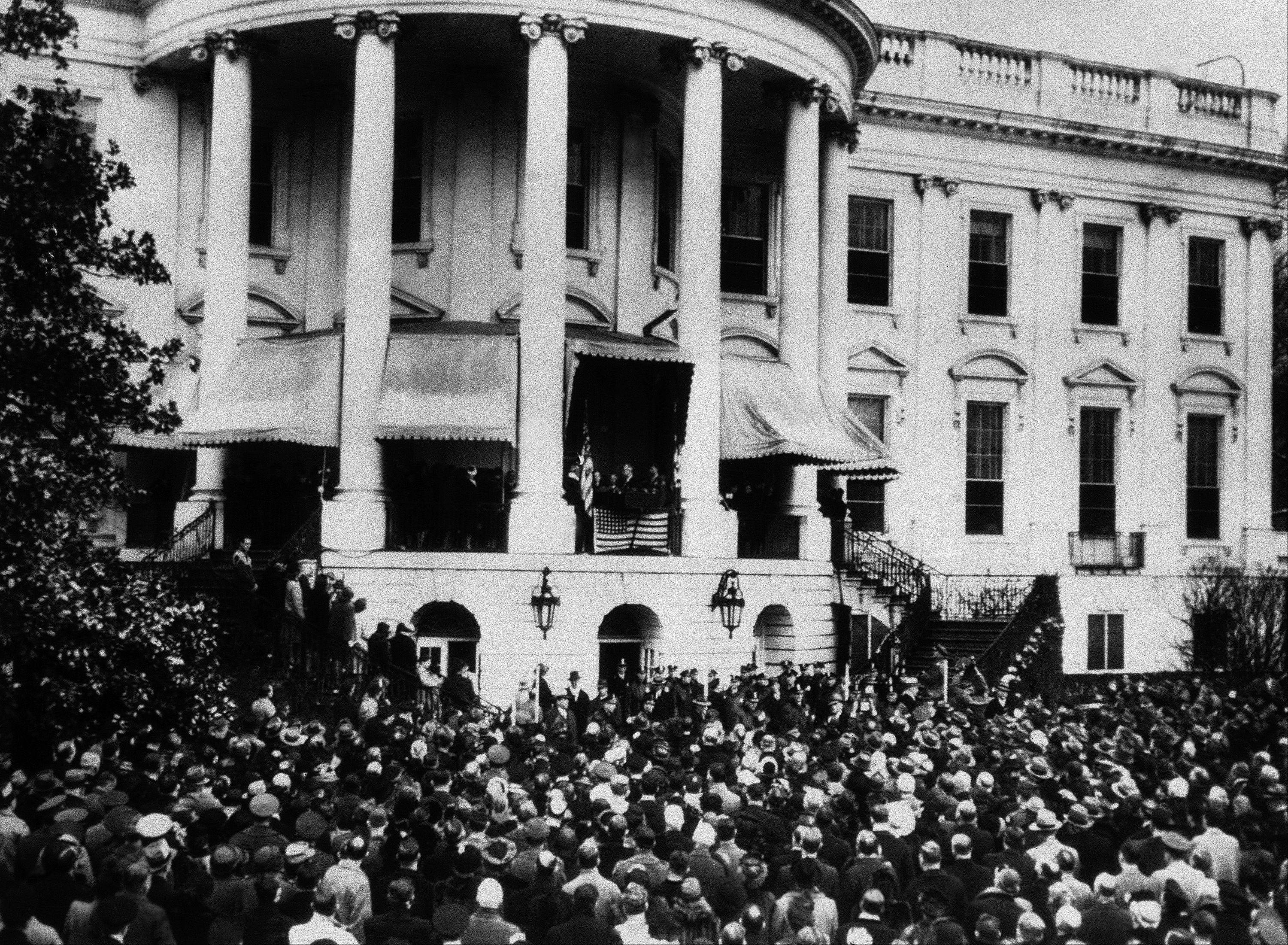 Over 7,000 people stood in the snow-covered grounds at the back of the White House to watch President Roosevelt inaugurated in Washington, on Jan. 20, 1945, for his fourth term. Wartime Austerity was the keynote of the proceedings and the whole ceremony was completed in under 15 minutes.