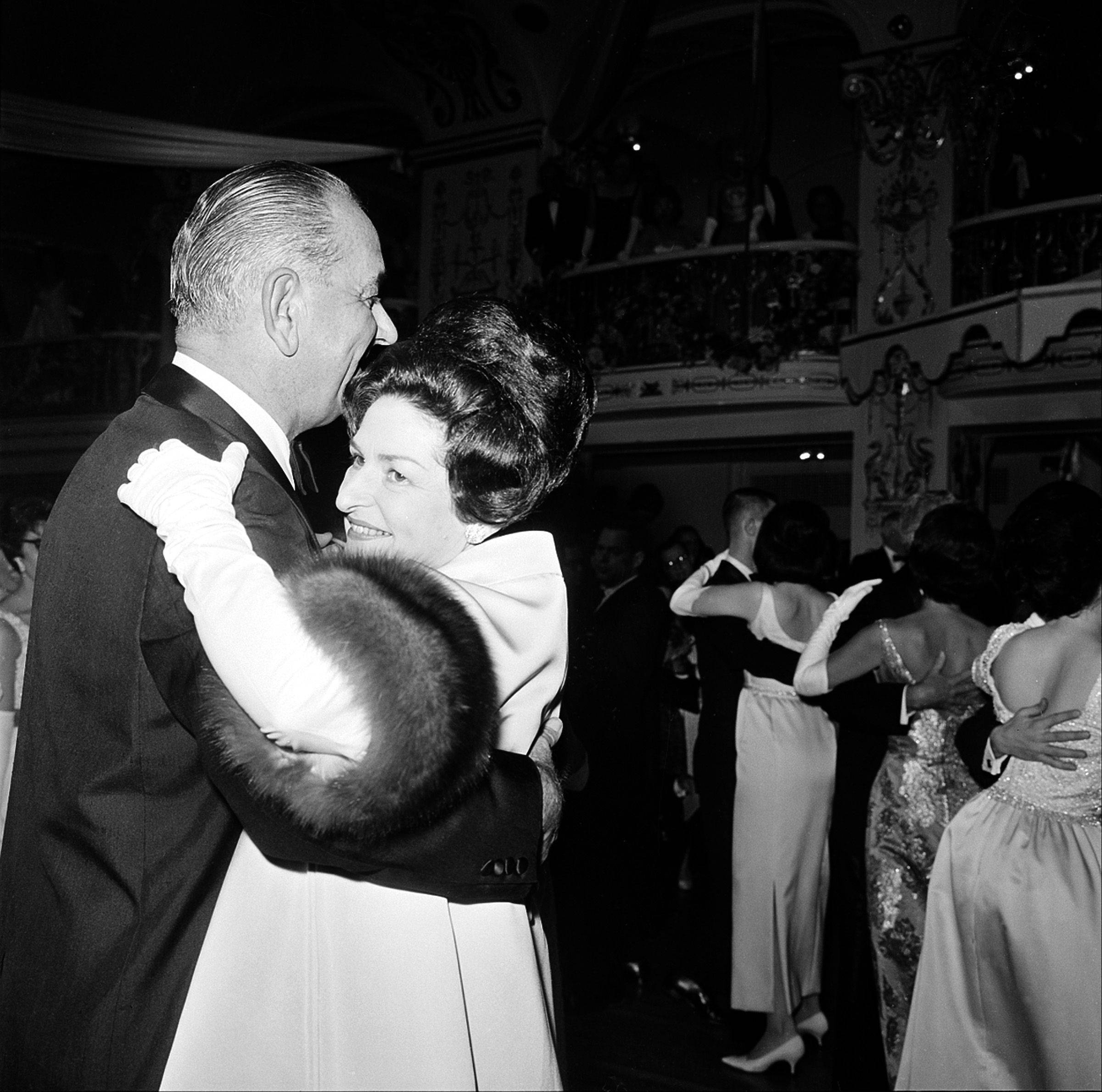 U.S. President Lyndon B. Johnson and the first lady, Lady Bird, dance at the Inaugural Ball at the Mayflower Hotel in Washington, D.C., Jan. 20, 1965.