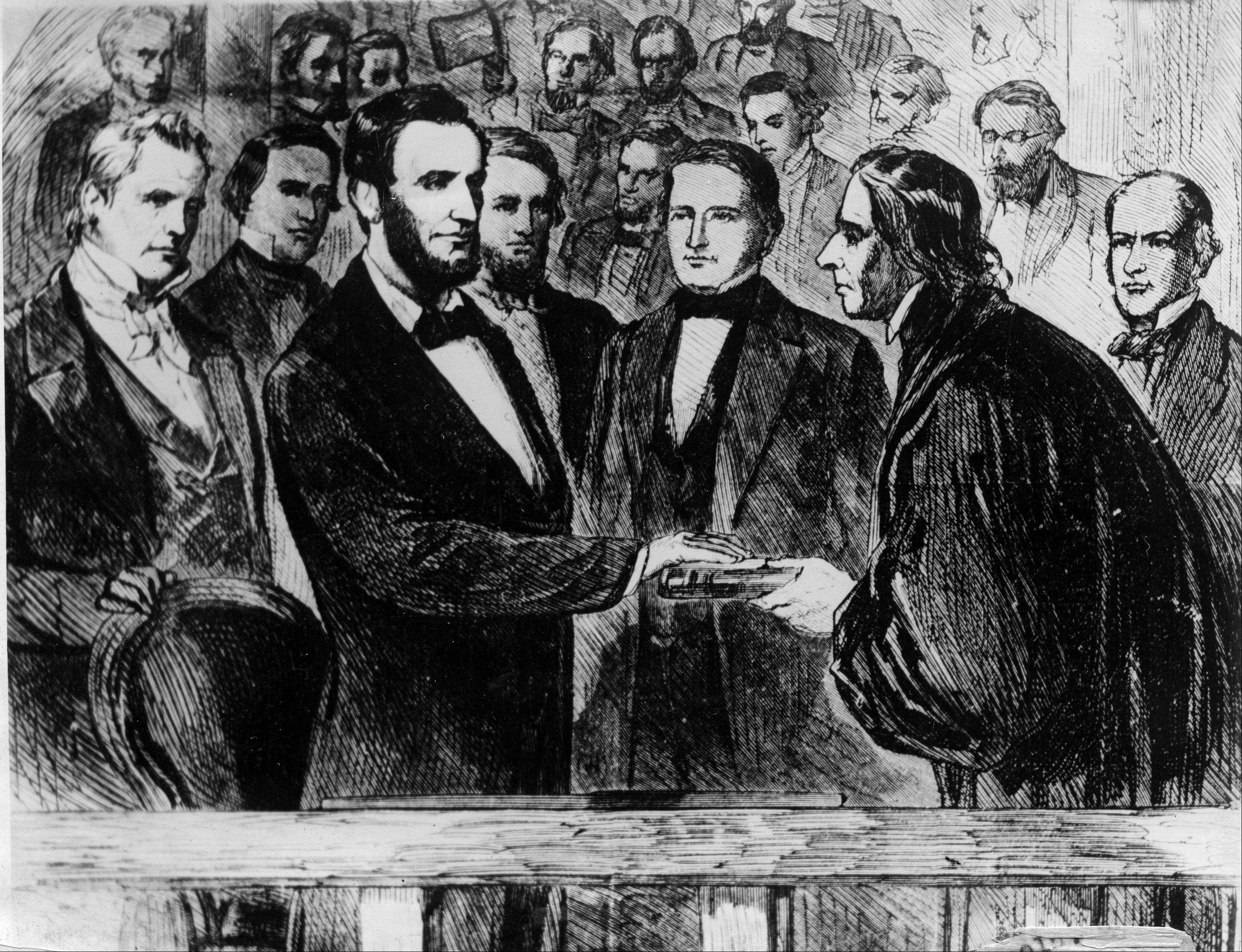 This photograph of a painting shows the second inauguration of Abraham Lincoln as he takes the oath of office as the 16th president of the United States in front of the U.S. Capitol in Washington, D.C., on March 4, 1865. The oath is administered by Chief Justice Salmon P. Chase.