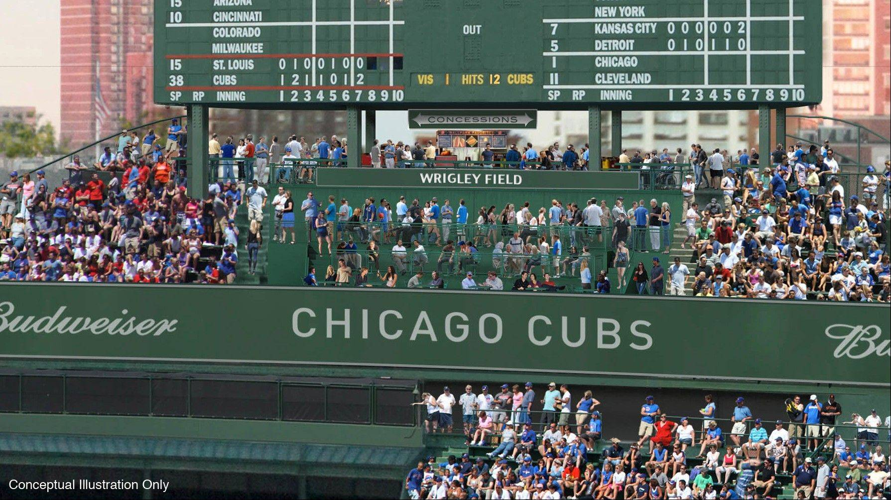 The Cubs have announced their $300 million renovation plan for Wrigley Field, and this is a view of the proposed center-field area.