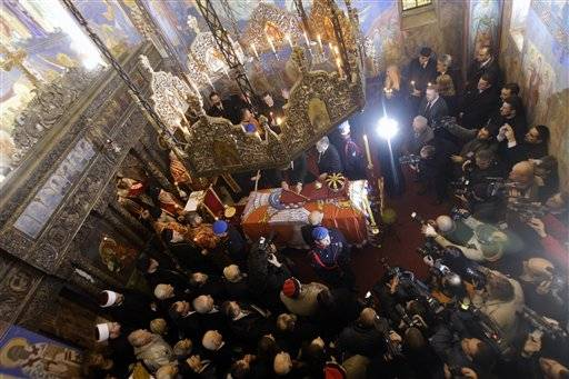 Patriarch Irinej performs the liturgy during a solemn ceremony after the remains of Yugoslavia's last king — Peter II Karadjordjevic were flown back to Serbia in Belgrade, Serbia, from Libertyville.