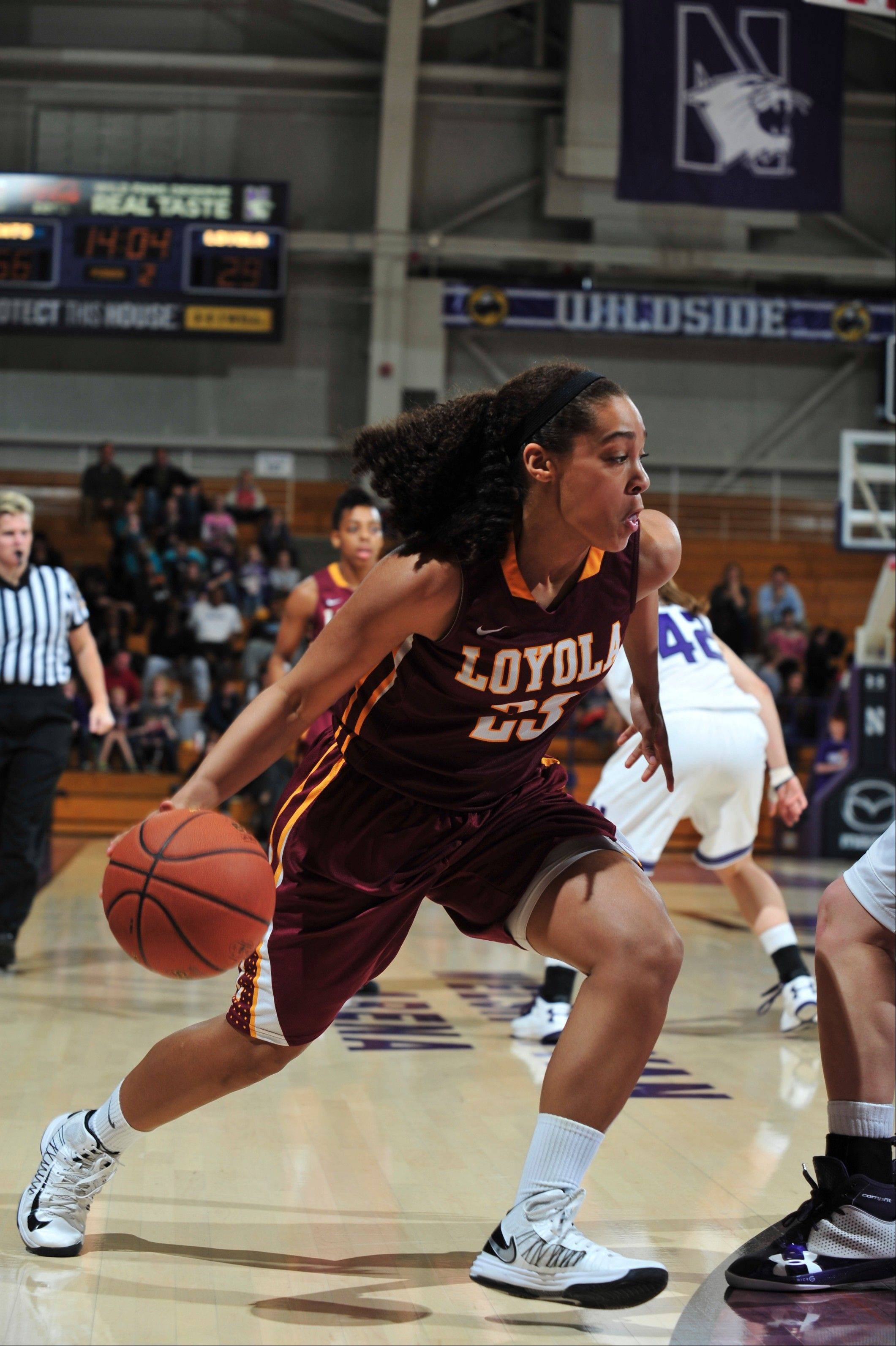 Loyola University freshman Becca Smith of South Elgin is getting more and more playing time for the Ramblers, and cracked the starting lineup last weekend.