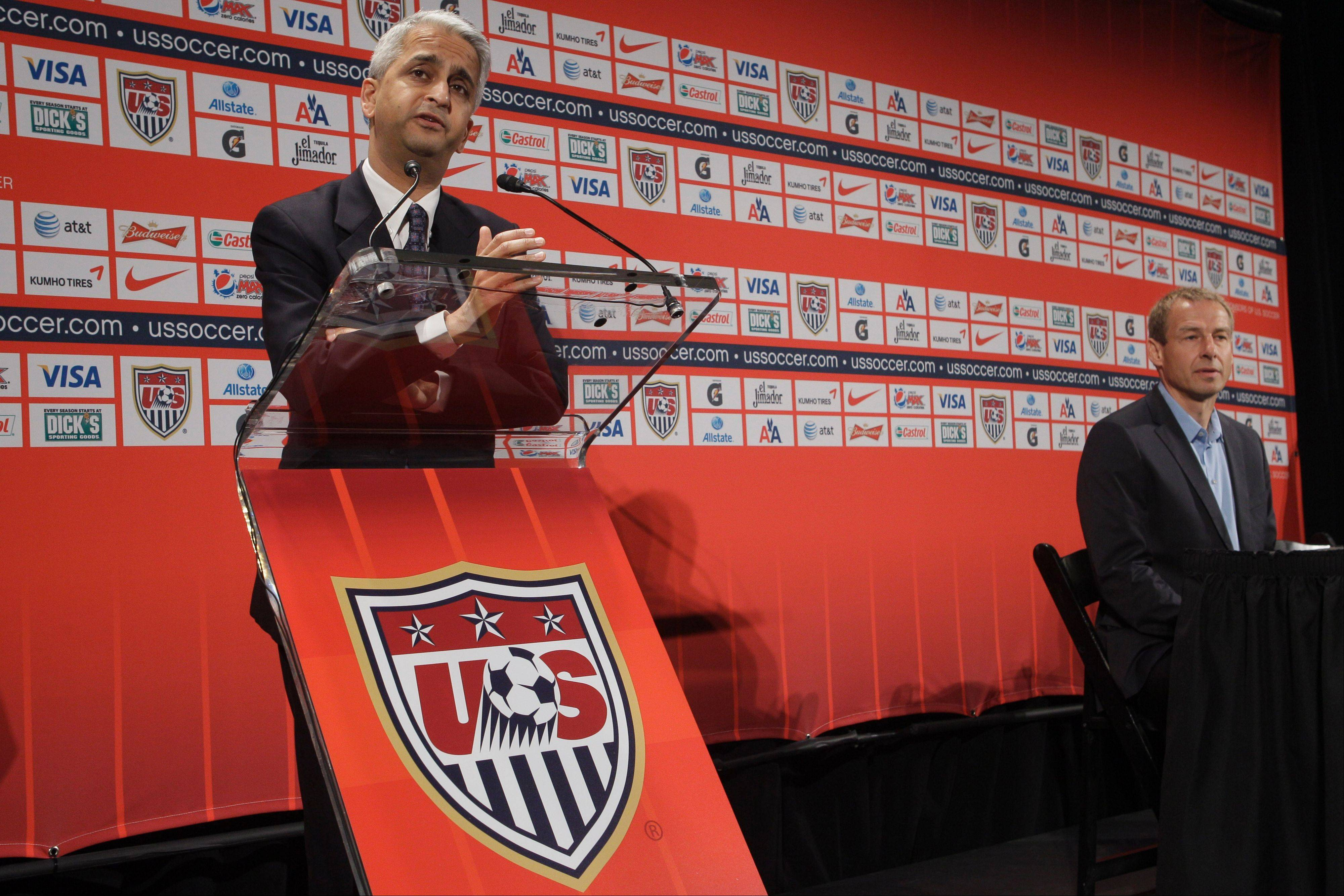 U.S. Soccer President Sunil Gulati, here introducing U.S. men's head coach Juergen Klinsman, will be the key speaker at the Chicago Fire Foundation's annual luncheon to kick off the 2013 MLS season.