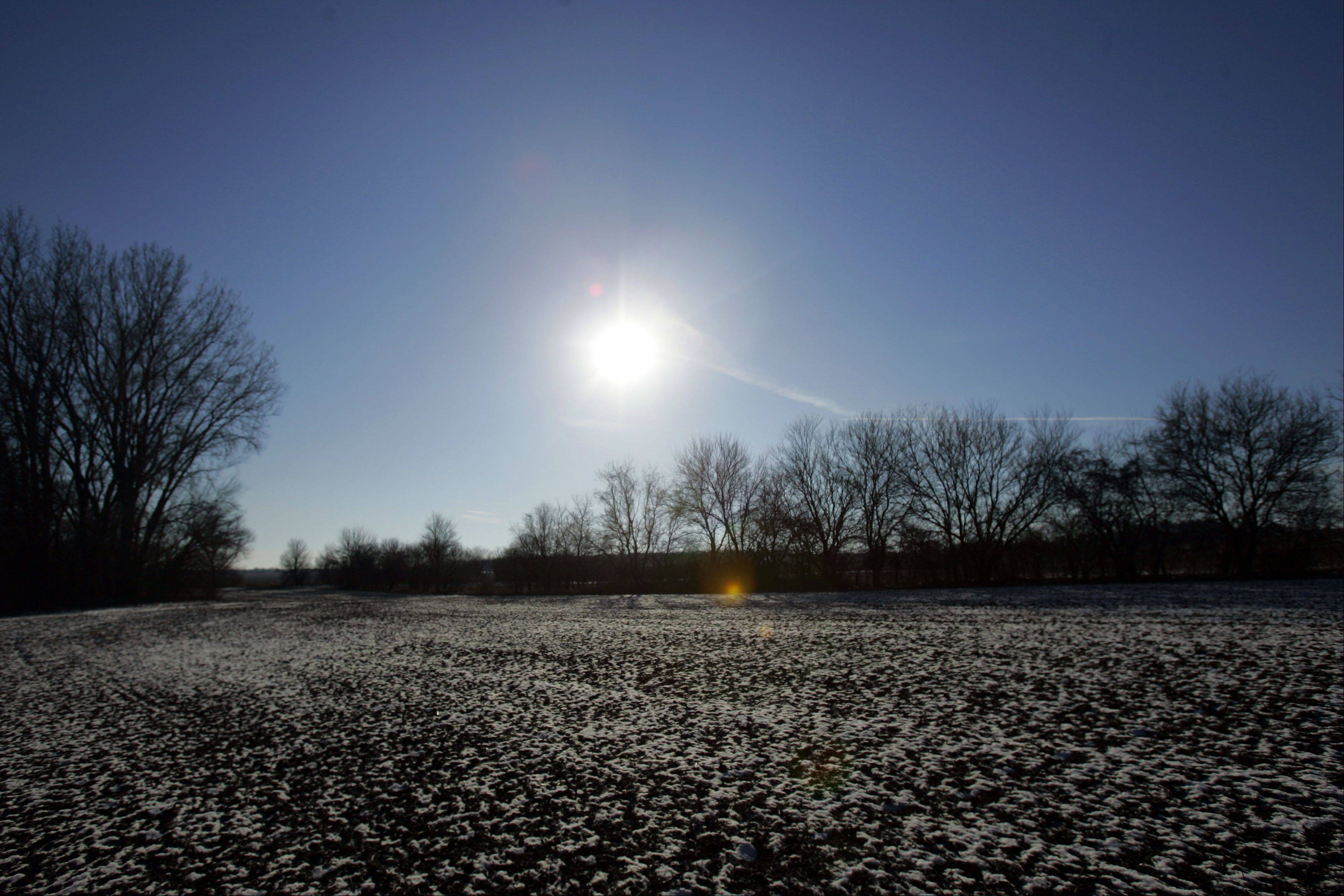 The winter sun sits low in the sky at the Glacial Park and Hackmatack National Wildlife Refuge in McHenry County.