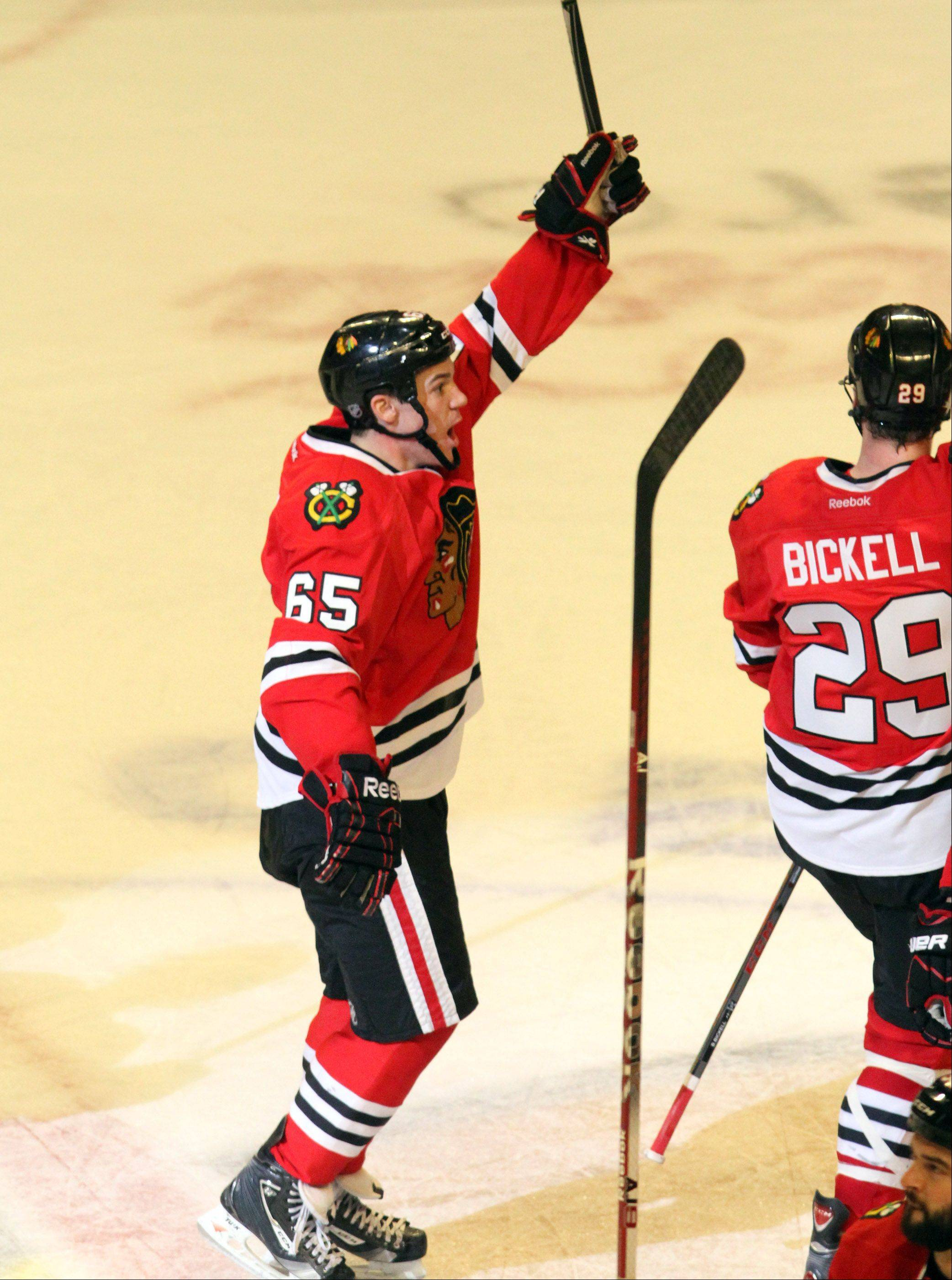 Chicago Blackhawks center Andrew Shaw celebrates.