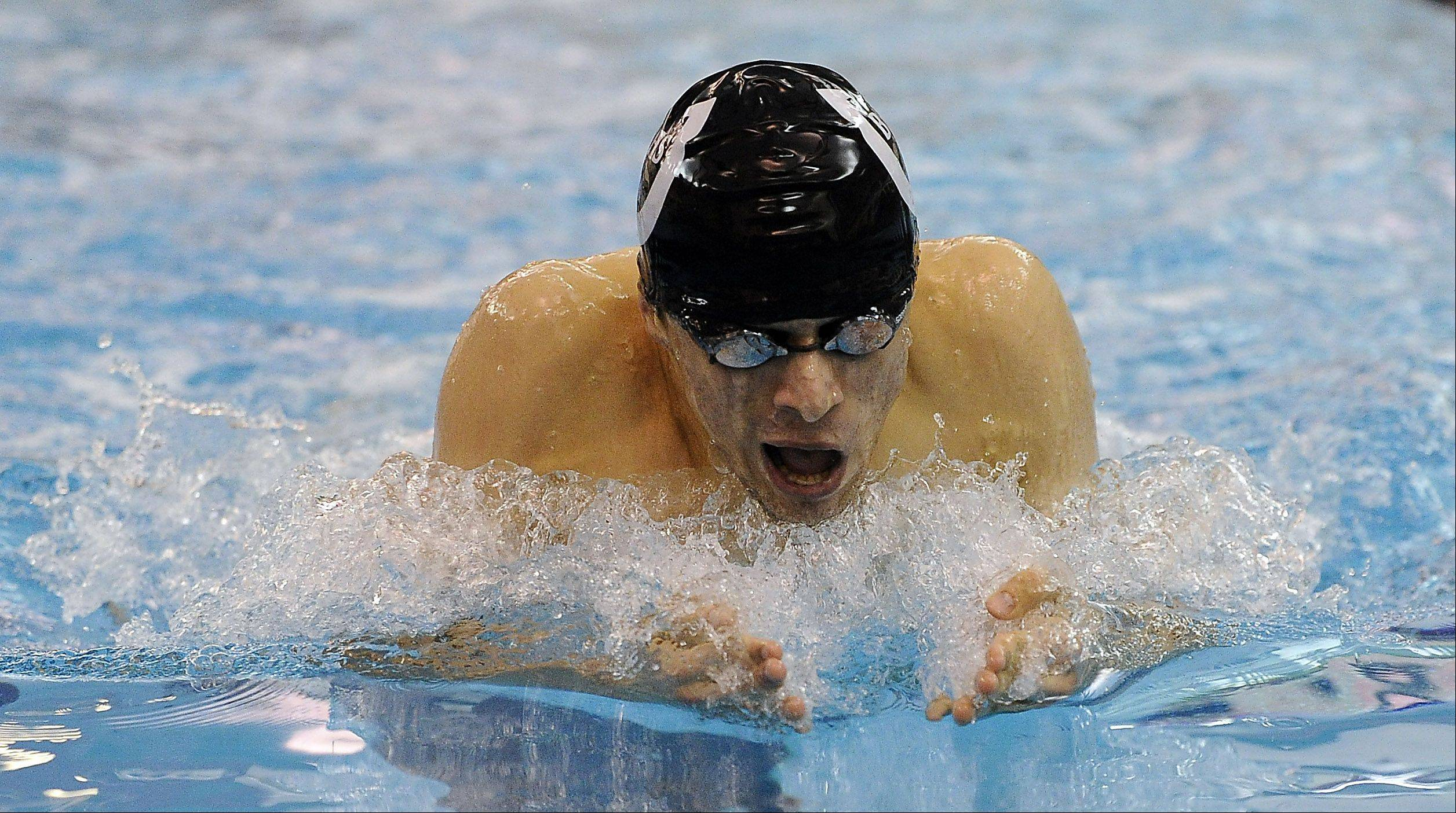 Barrington's Chris Vega competes in the 200-meter Individual Medley against Conant at Barrington High School on Friday.