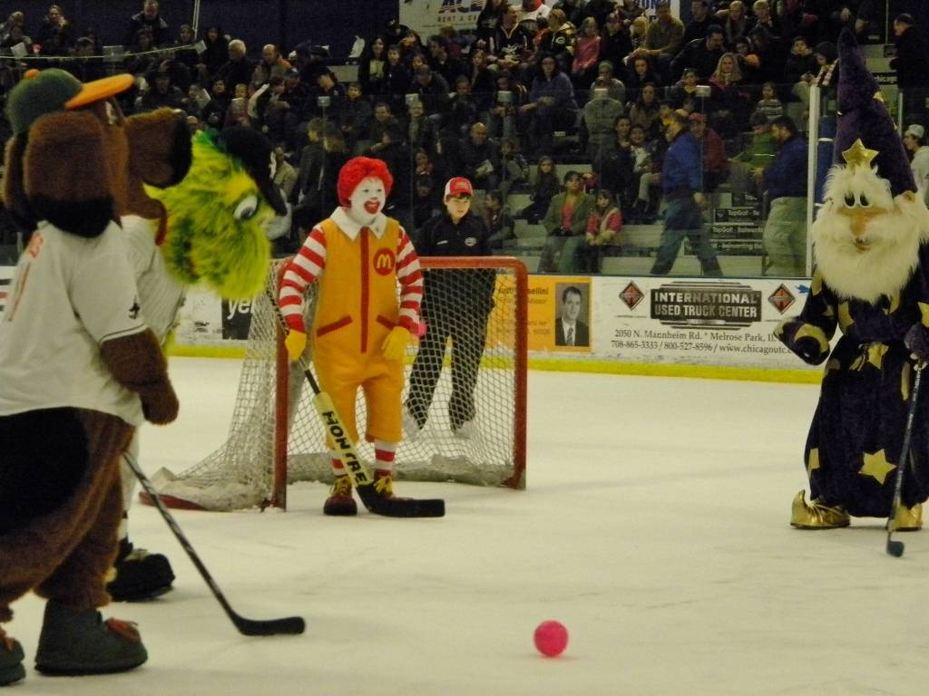 The Mascot Hockey Game at the Chicago Steel January 19th.