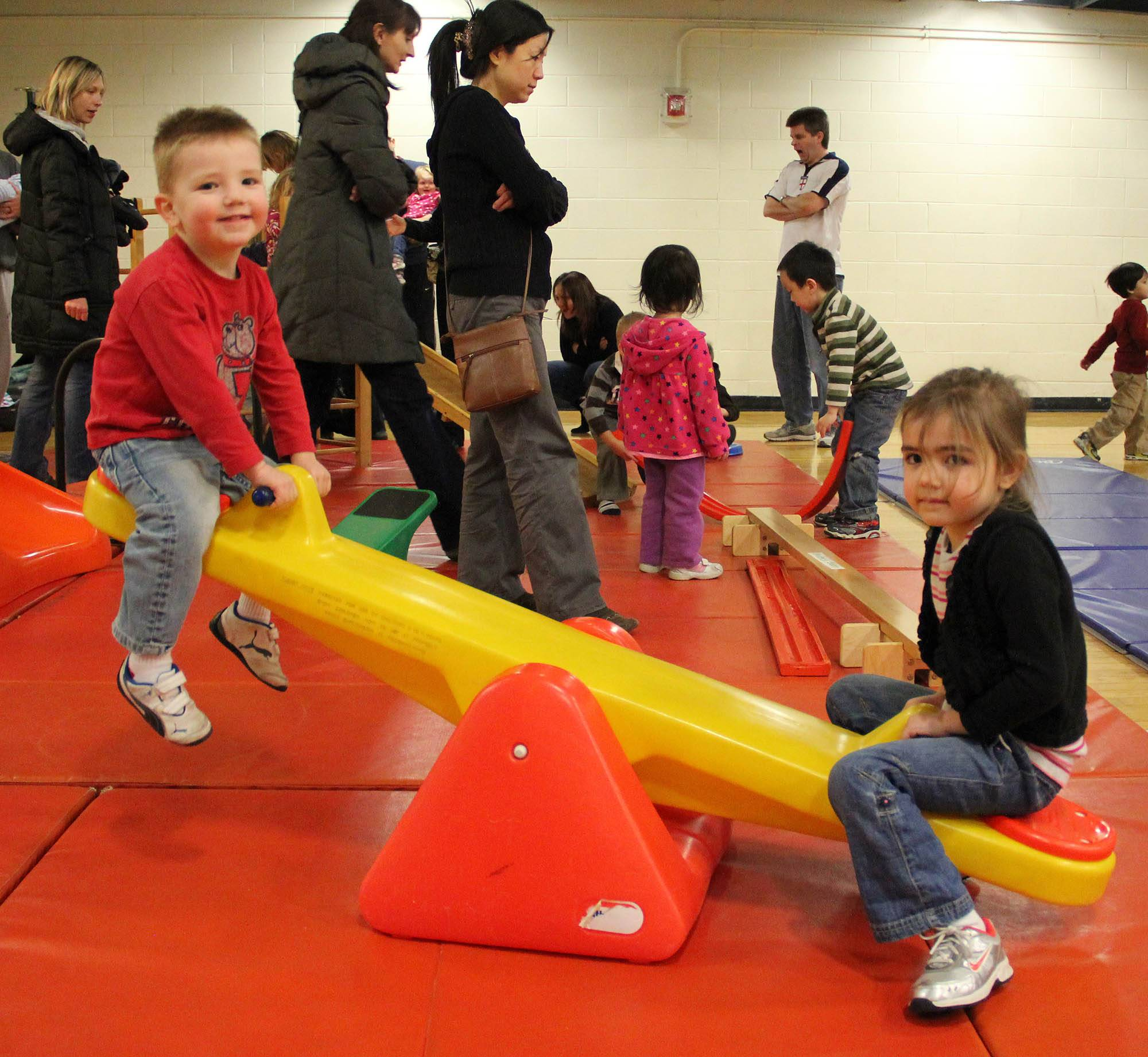 Children play at an activity station at last year's Early Childhood Family Fun Night.