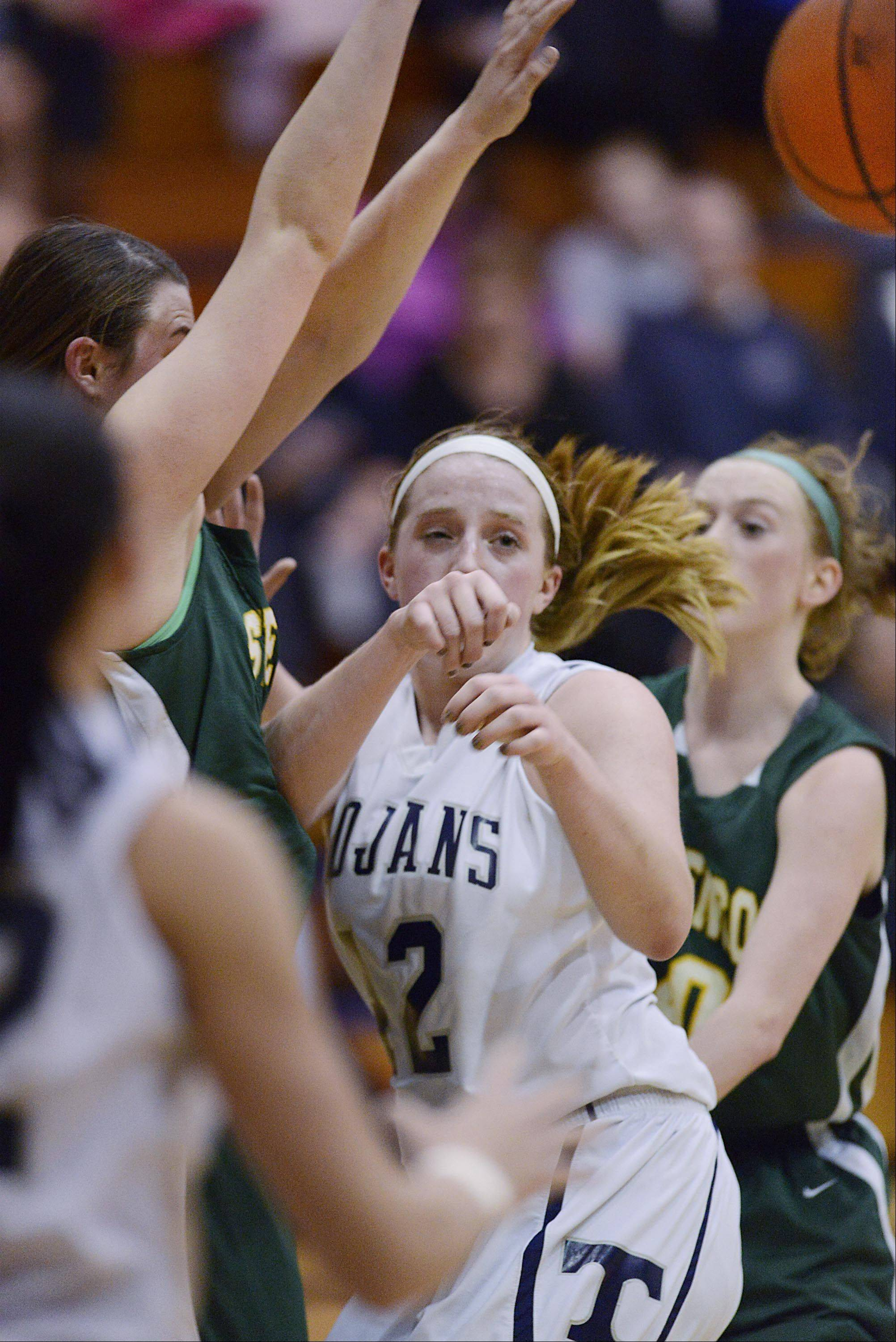 Cary-Grove�s Olivia Jakubicek (42) passes out of a crowd against Stevenson Wednesday in Cary.