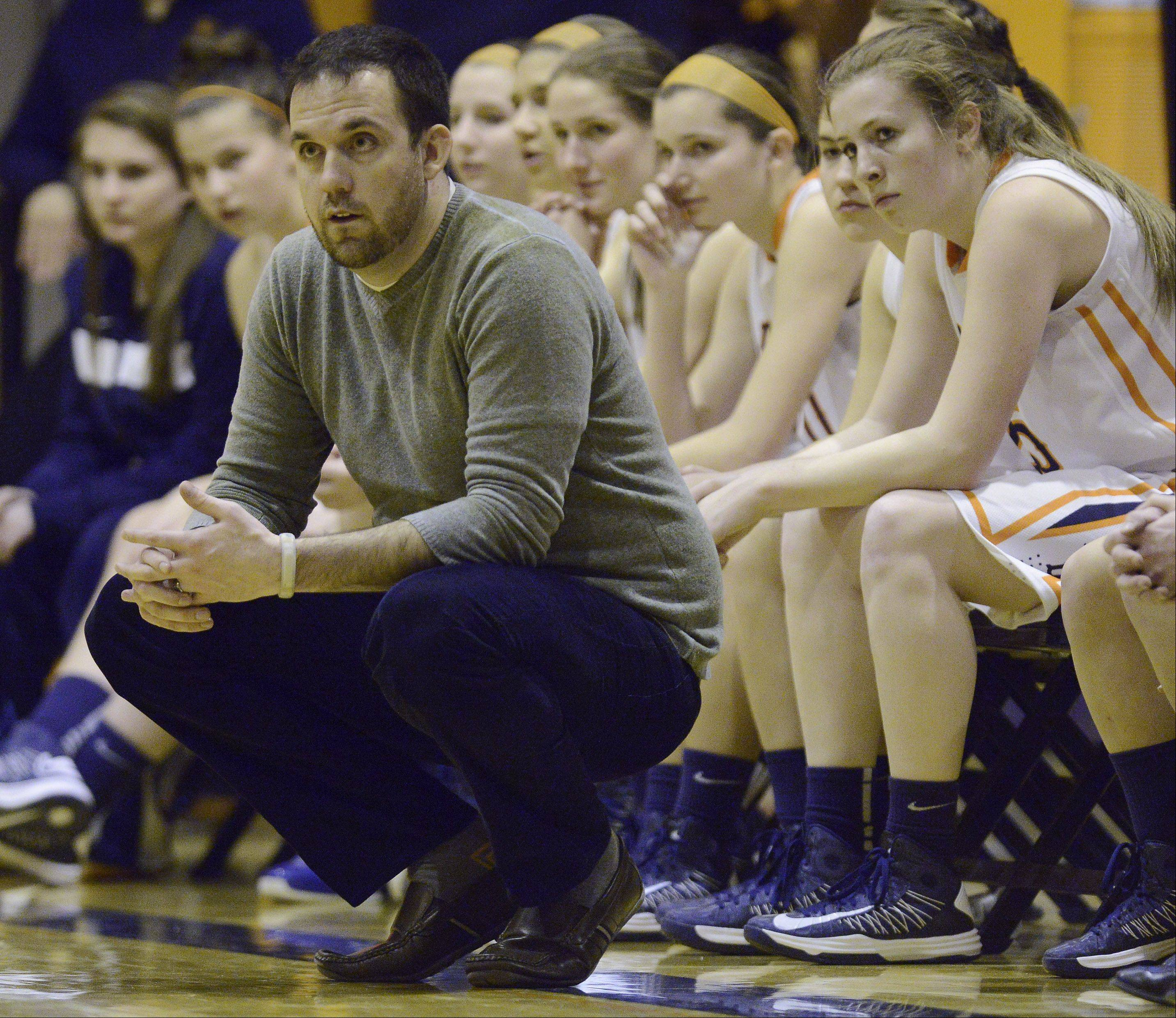 Buffalo Grove girls basketball coach Steve Kolodziej leads his team during Wednesday�s game against Rolling Meadows.