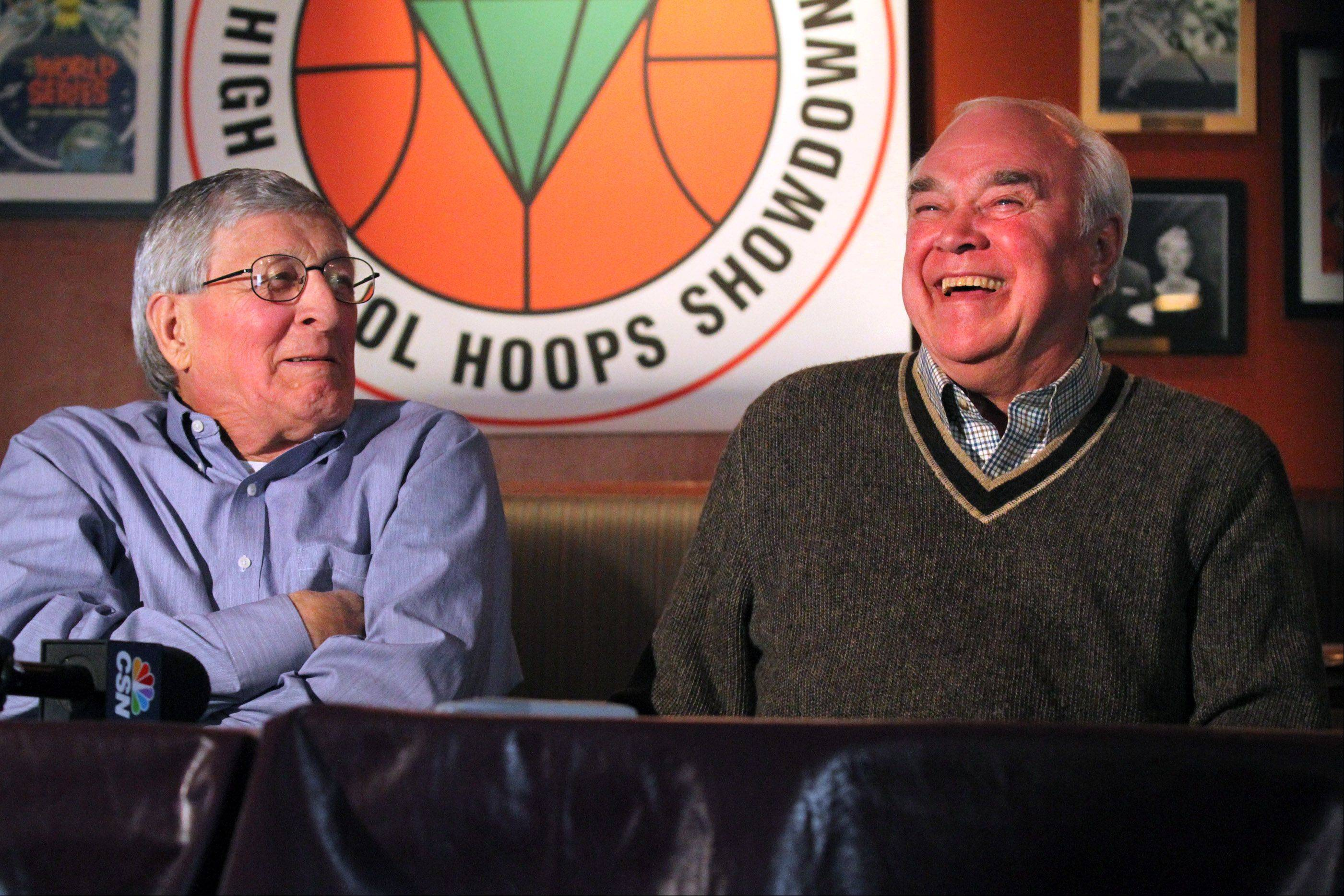 St. Joseph boys basketball coach Gene Pingatore, left, and West Aurora coach Gordie Kerkman, whose teams will play each other in game three of the National Guard High School Hoops Showdown at the Sears Centre on Saturday, enjoy a moment during a news conference at Lou Malnati�s Pizzeria in Schaumburg on Wednesday.