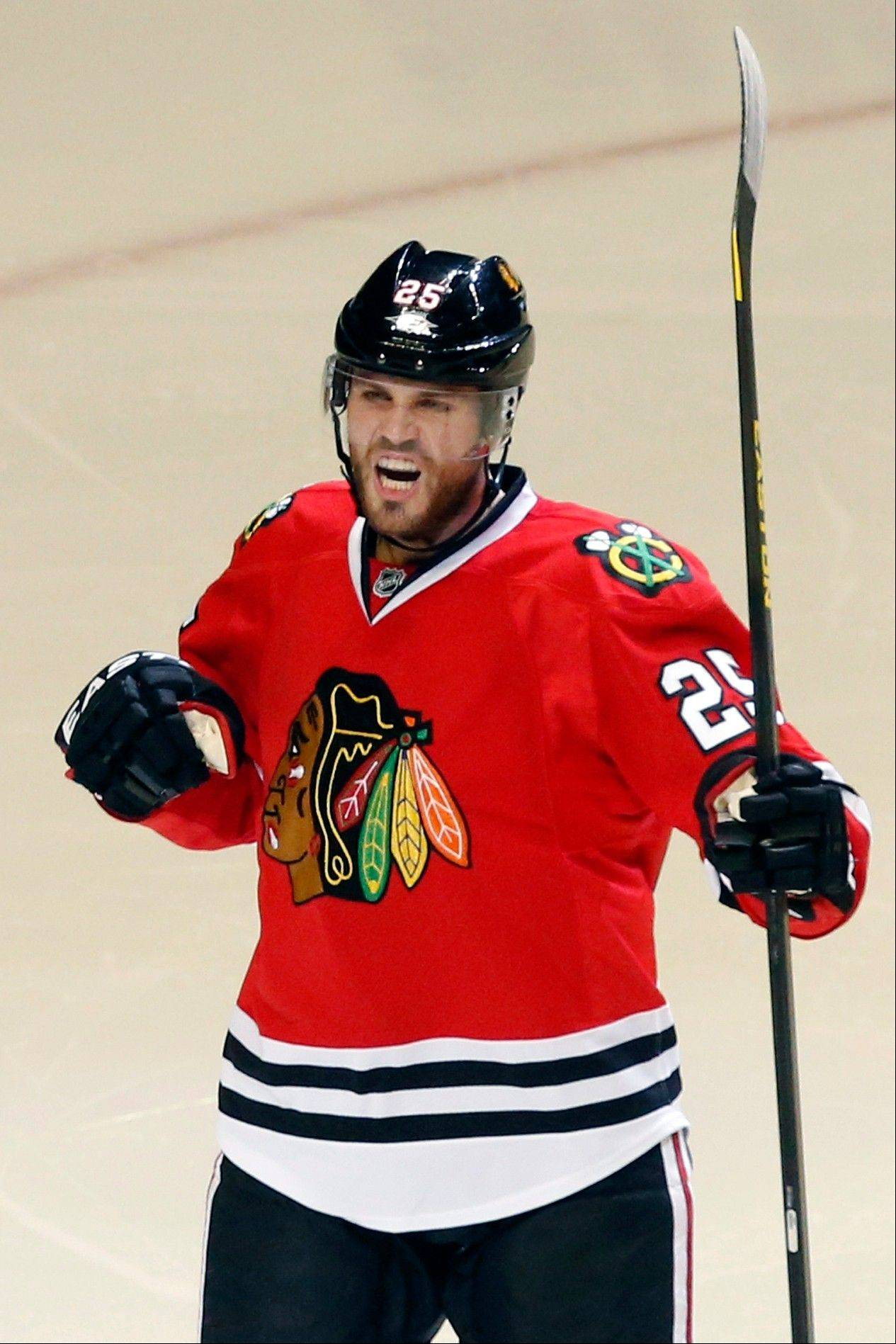 The Blackhawks� Viktor Stalberg celebrates his goal during the third period of Tuesday�s victory over the Blues at the United Center.