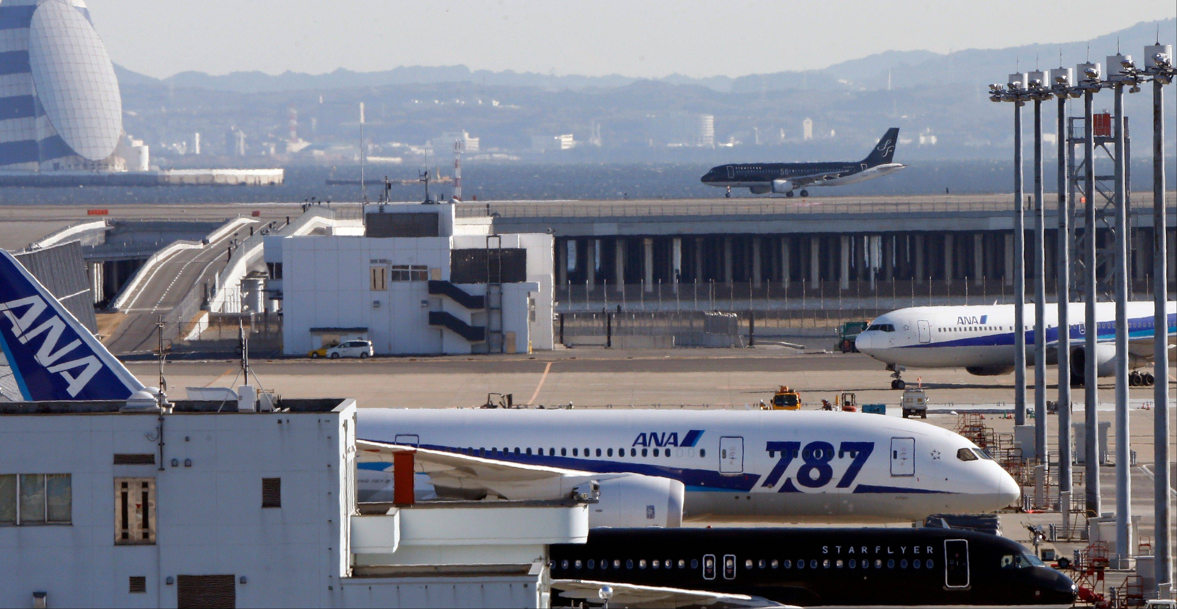 A grounded All Nippon Airways' Boeing 787 on the tarmac at Haneda airport in Tokyo.