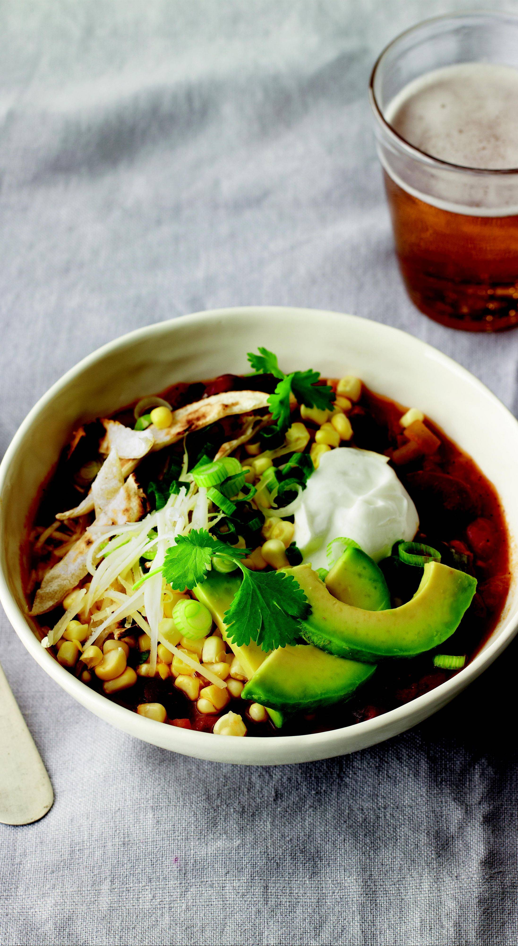 "Use the recipe for Vegetarian Bean Chili, from ""Meatless,"" the latest cookbook from Martha Stewart, as a base and switch up the beans, veggies and peppers to match your tastes."