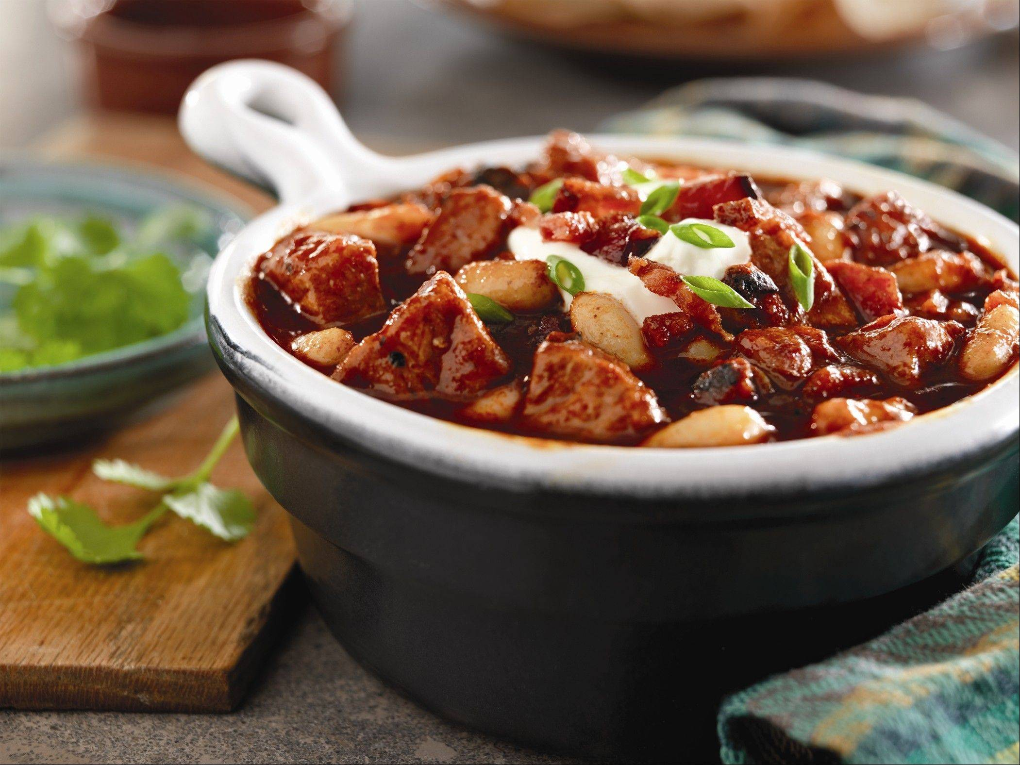 Smoky Pork, Bacon and White Bean Chili