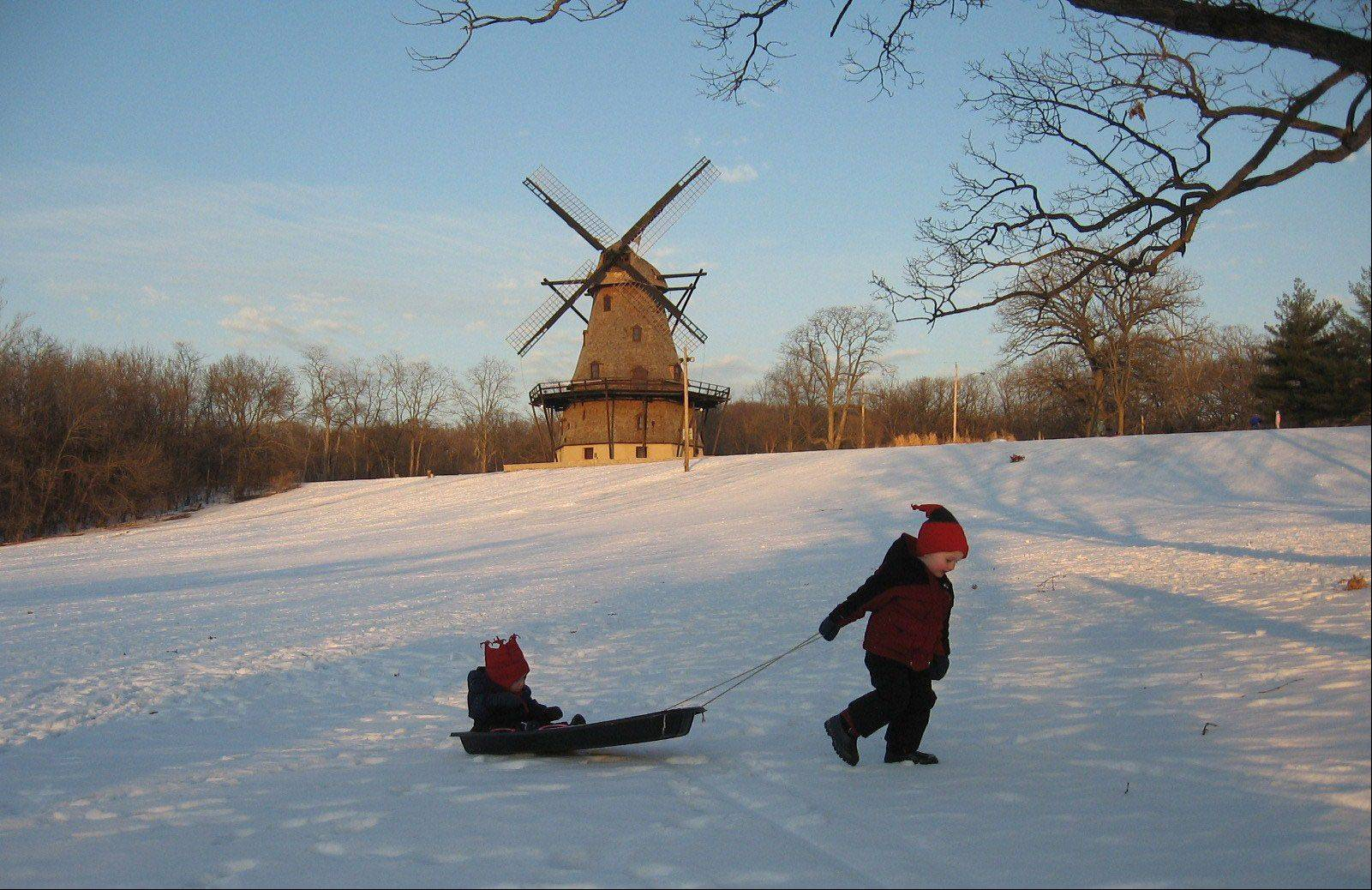 Photos of landmarks or historic sites are often more interesting if there are people in the picture to help give it scale. This one from Katie O'Connor of Batavia, of her sons sledding at the Fabyan Windmill, was the monthly winner in January 2010.