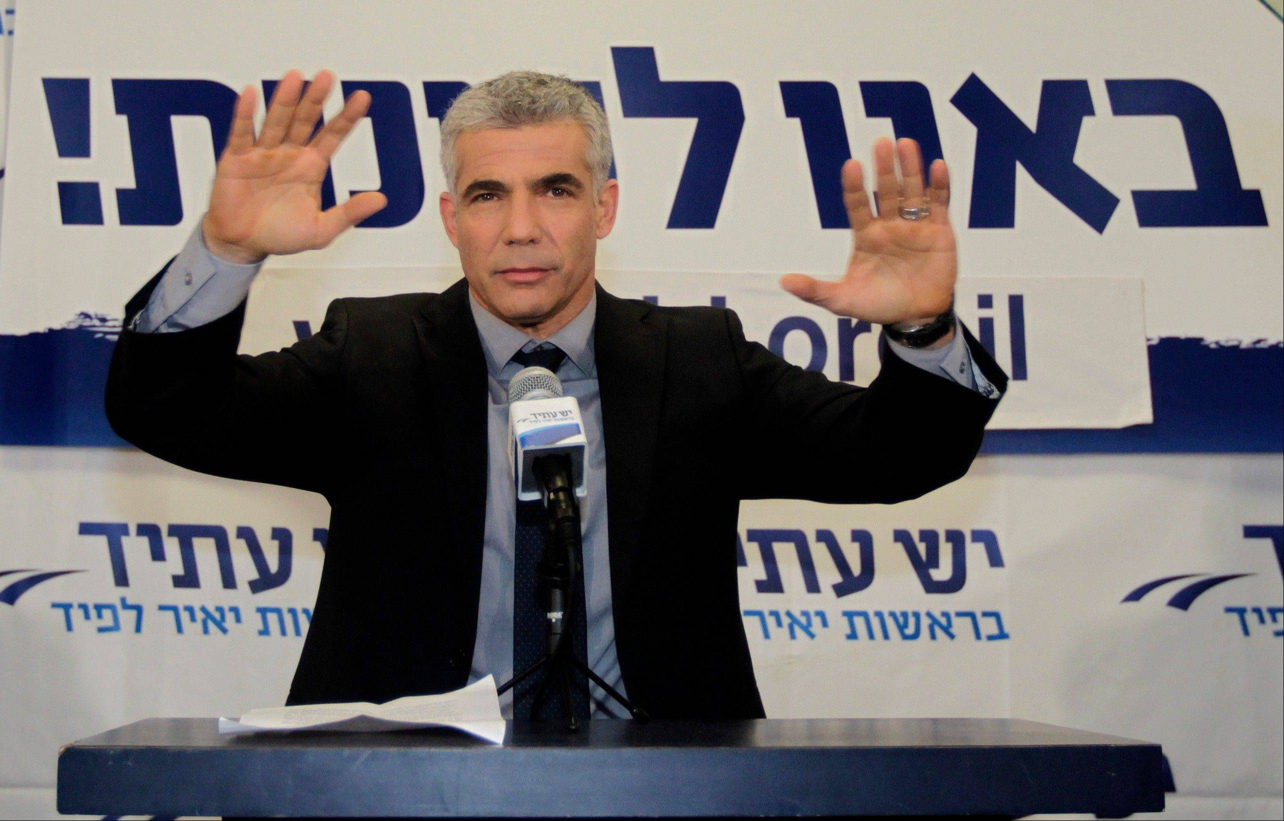 It appears Prime Minister Benjamin Netanyahu's future in office may depend on newcomer Yair Lapid, above. Lapid's Yesh Atid, or There is a Future, emerged as the second-largest party in Israel's parliament after the prime minister's bloc, giving the 49-year-old former journalist unexpectedly strong leverage in upcoming coalition negotiations.