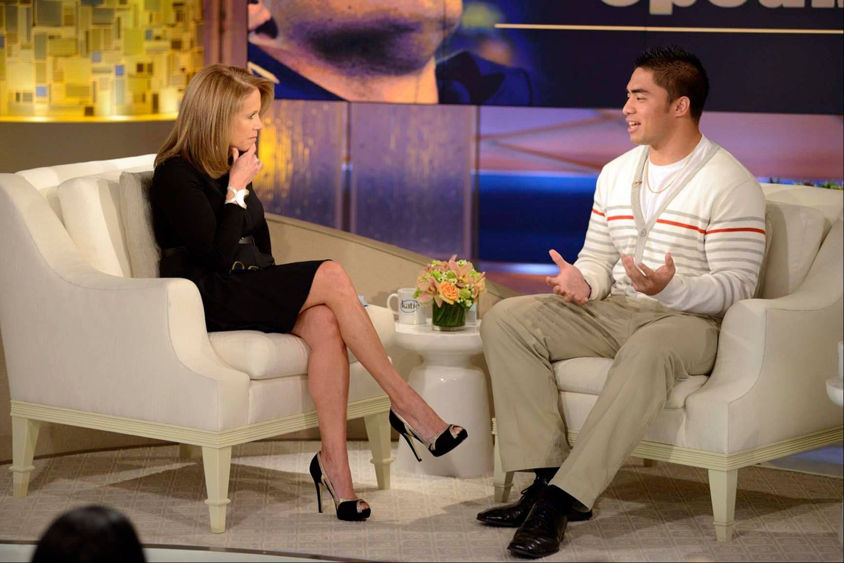 "Notre Dame linebacker Manti Te'o speaks with host Katie Couric during an interview for ""Katie,"" in New York. Te'o has told Katie Couric that he briefly lied about his online girlfriend after discovering she didn't exist, while maintaining that he had no part in creating the hoax. Pressed by Couric to admit that he was in on the deception, Te'o said he believed that his girlfriend Lennay Kekua had died of cancer and didn't lie about it until December. The interview will air today."