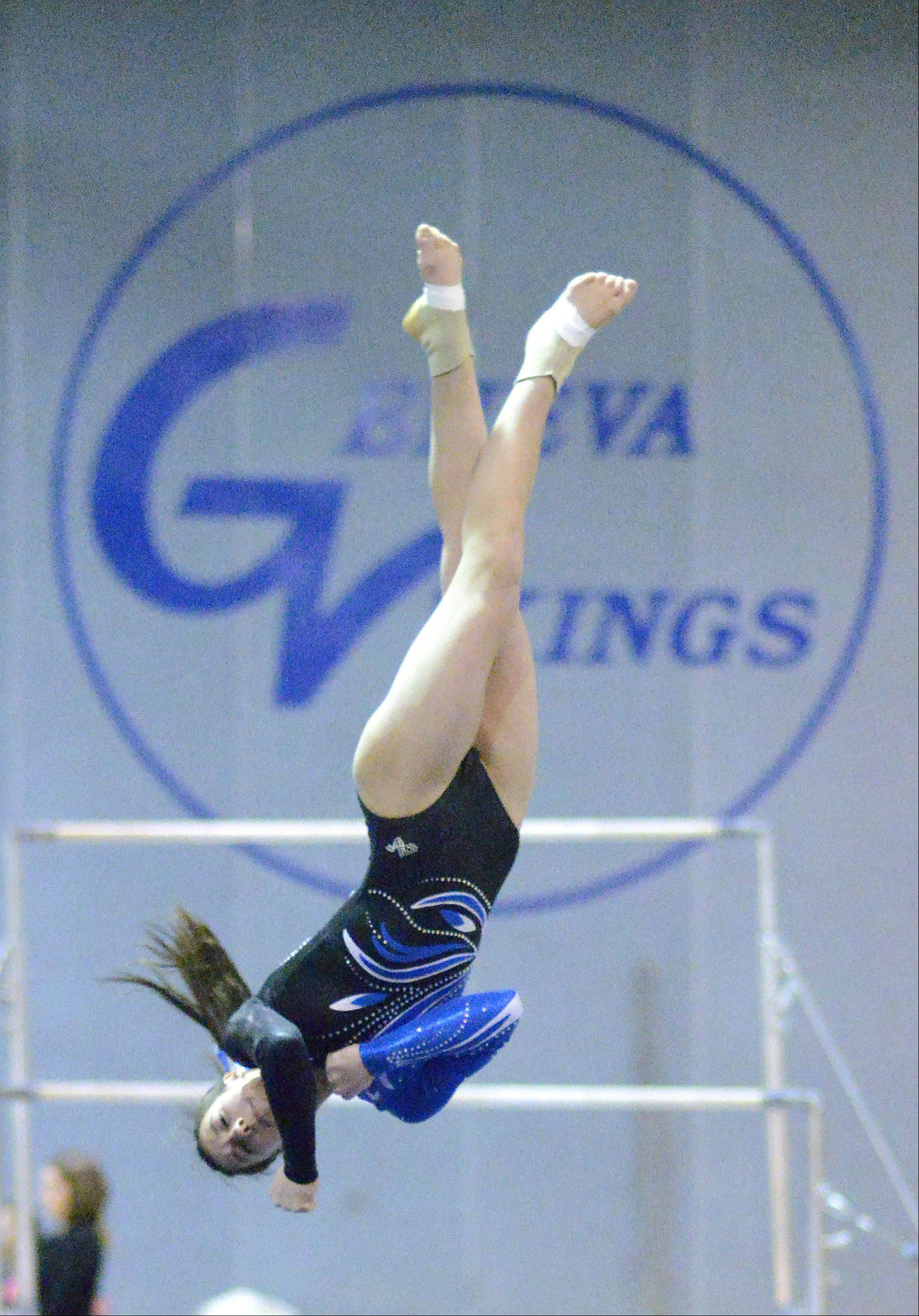 Geneva's Grace Ginsberg performs her floor routine on Wednesday, January 23.