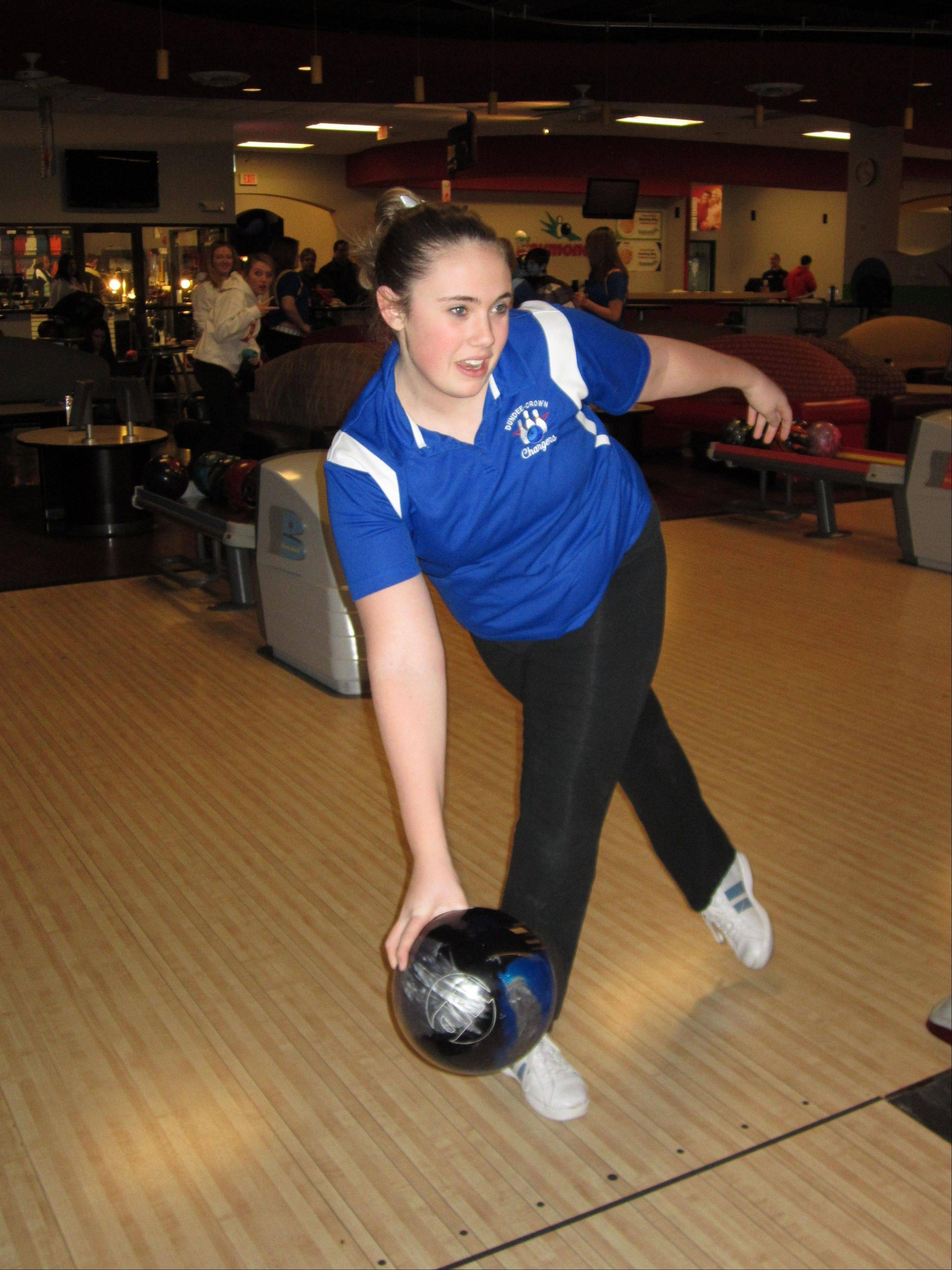 Dundee-Crown junior Karissa Gonio has had a stellar season on the lanes for the Chargers. She and D-C will bowl in the Fox Valley Conference tournament at Raymond's Bowl in Johnsburg.