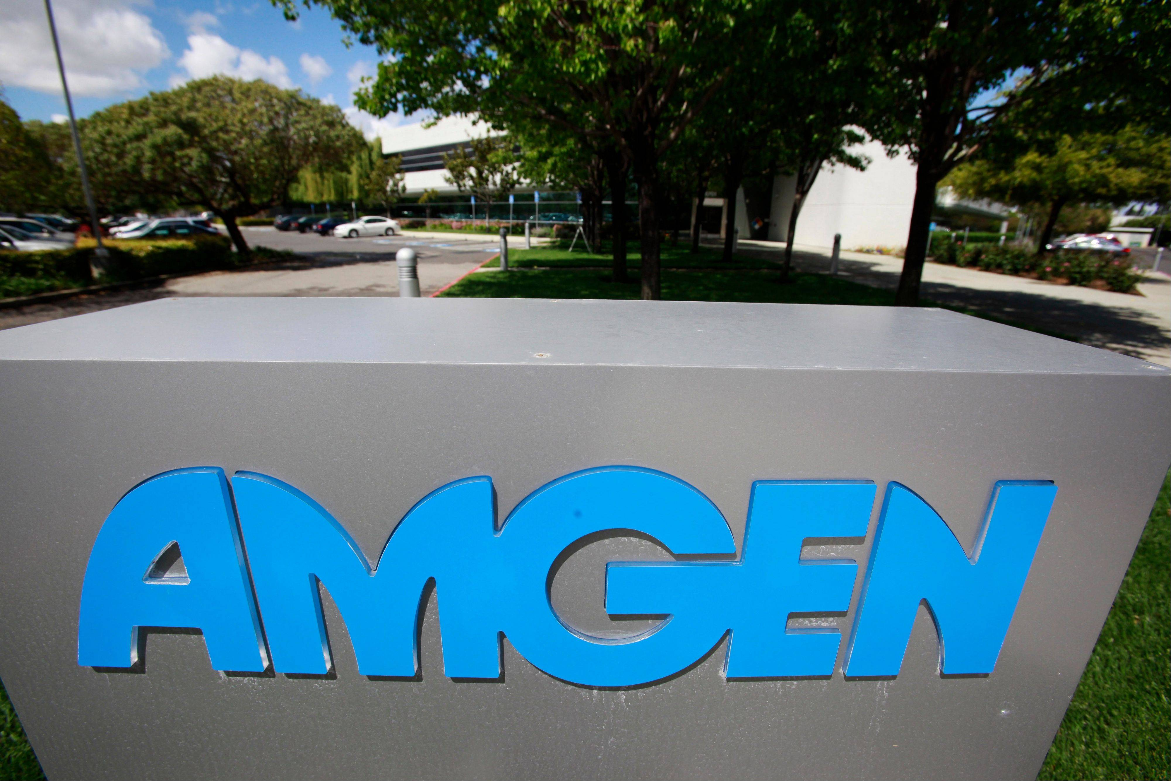 Exterior view of Amgen offices in Fremont, Calif.