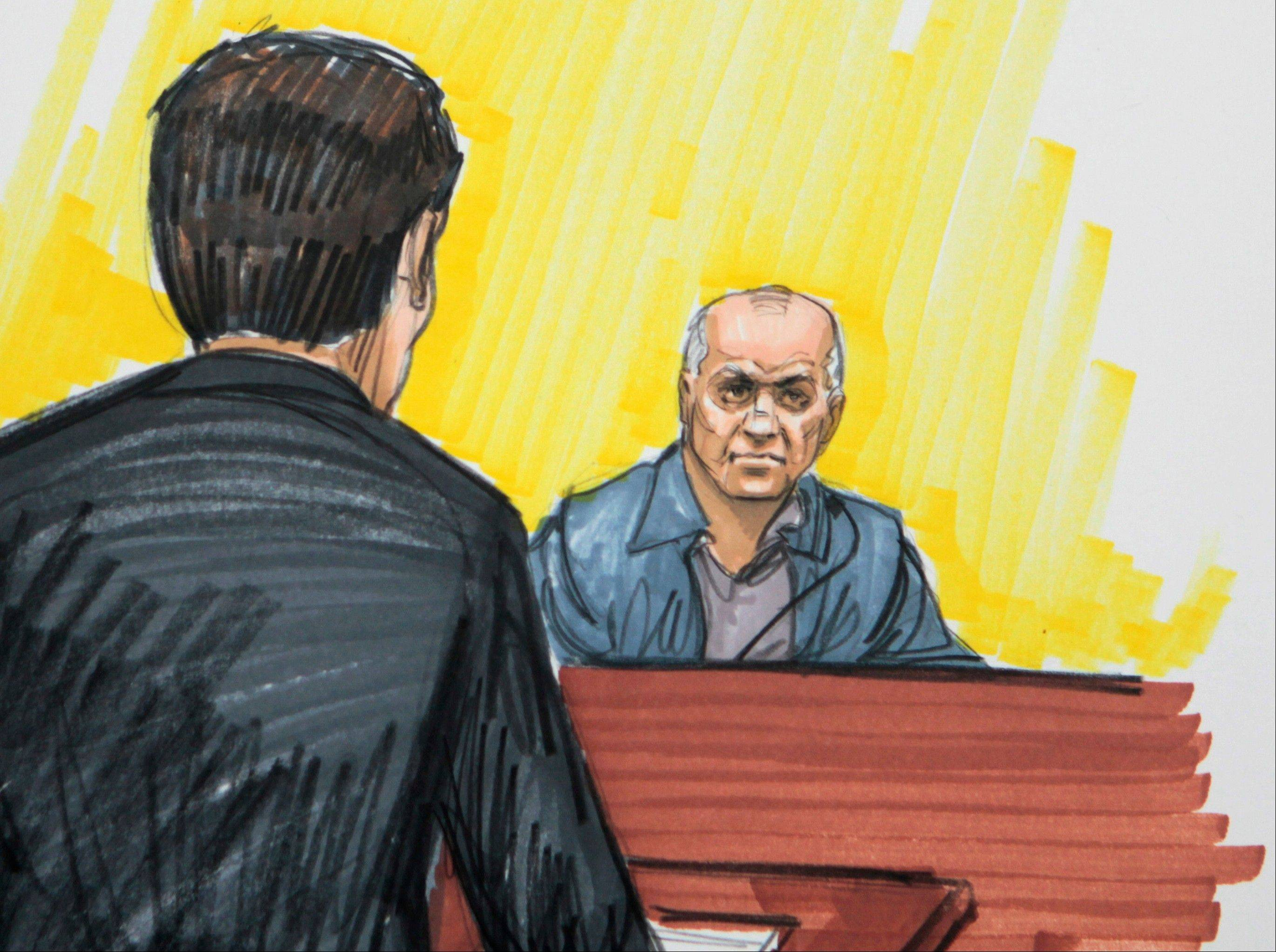 In this May 23, 2011 courtroom sketch, David Coleman Headley is shown in federal court in Chicago.