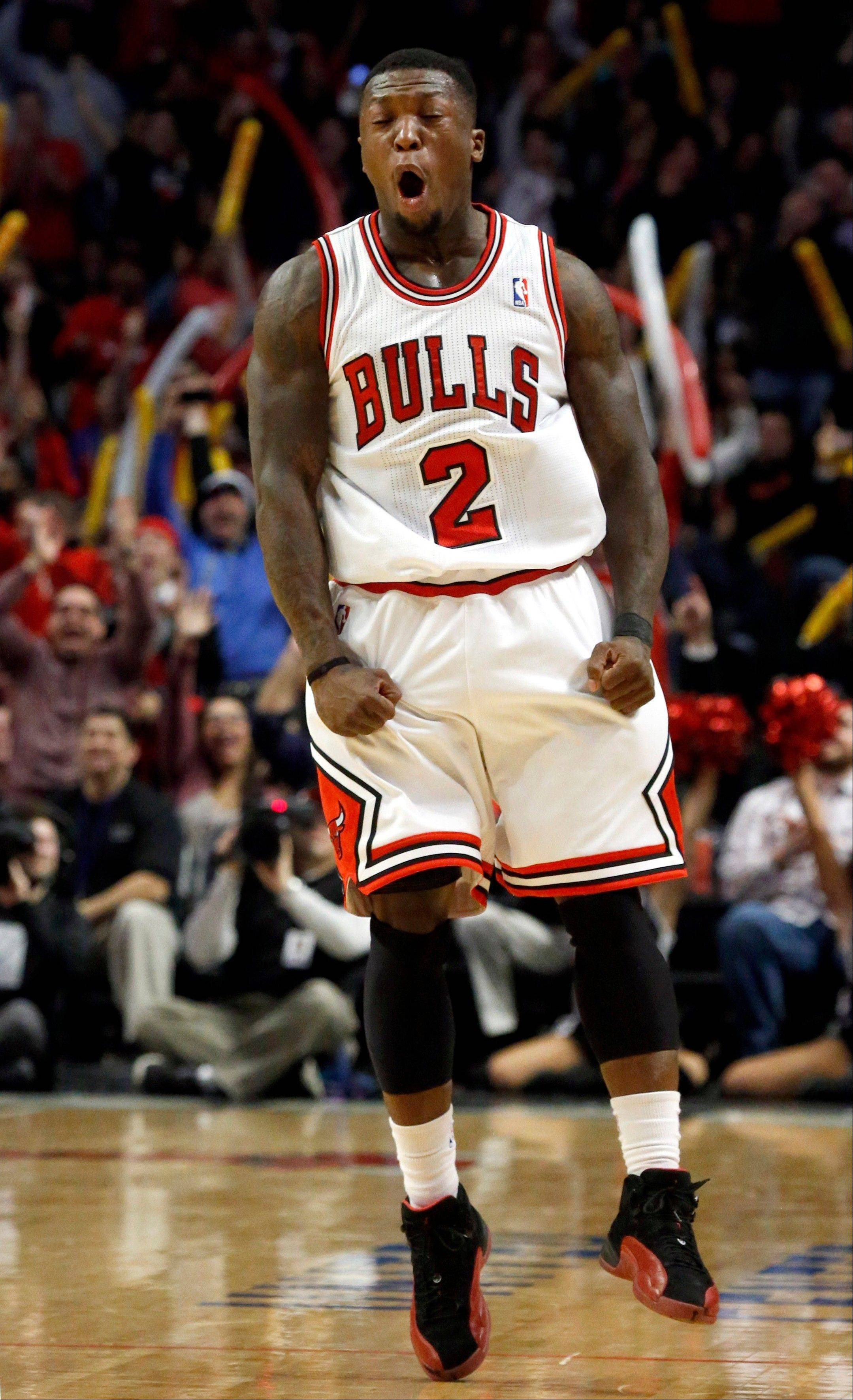 Guard Nate Robinson scored 9 straight fourth-quarter points Wednesday to spark the Bulls� victory over Detroit.