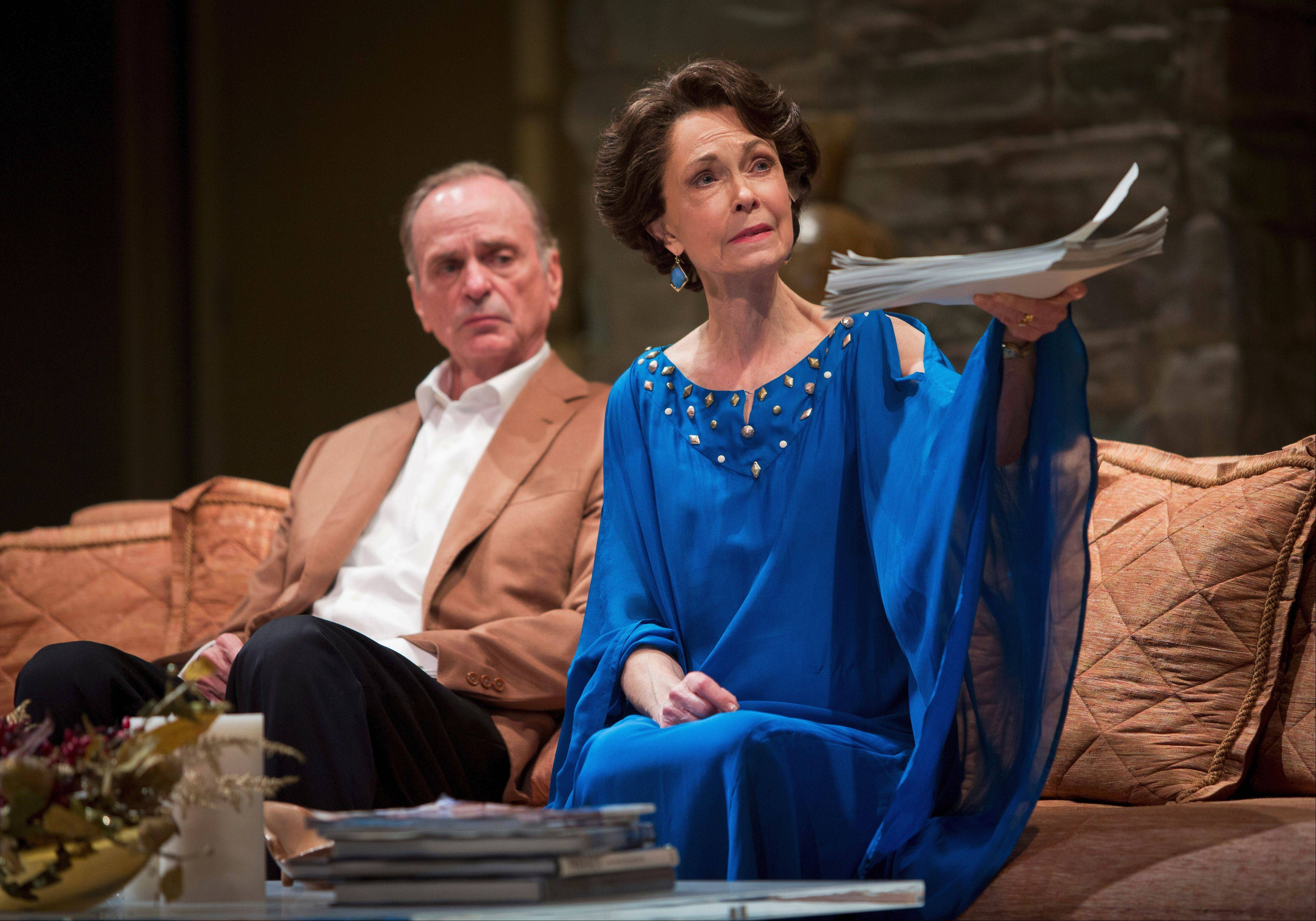 "Former GOP chairman Lyman Wyeth (Chelcie Ross) and his wife Polly (Deanna Dunagan) worry that their daughter's tell-all memoir will upend the life they have so carefully cultivated in Goodman Theatre's production of Jon Robin Baitz's ""Other Desert Cities."""