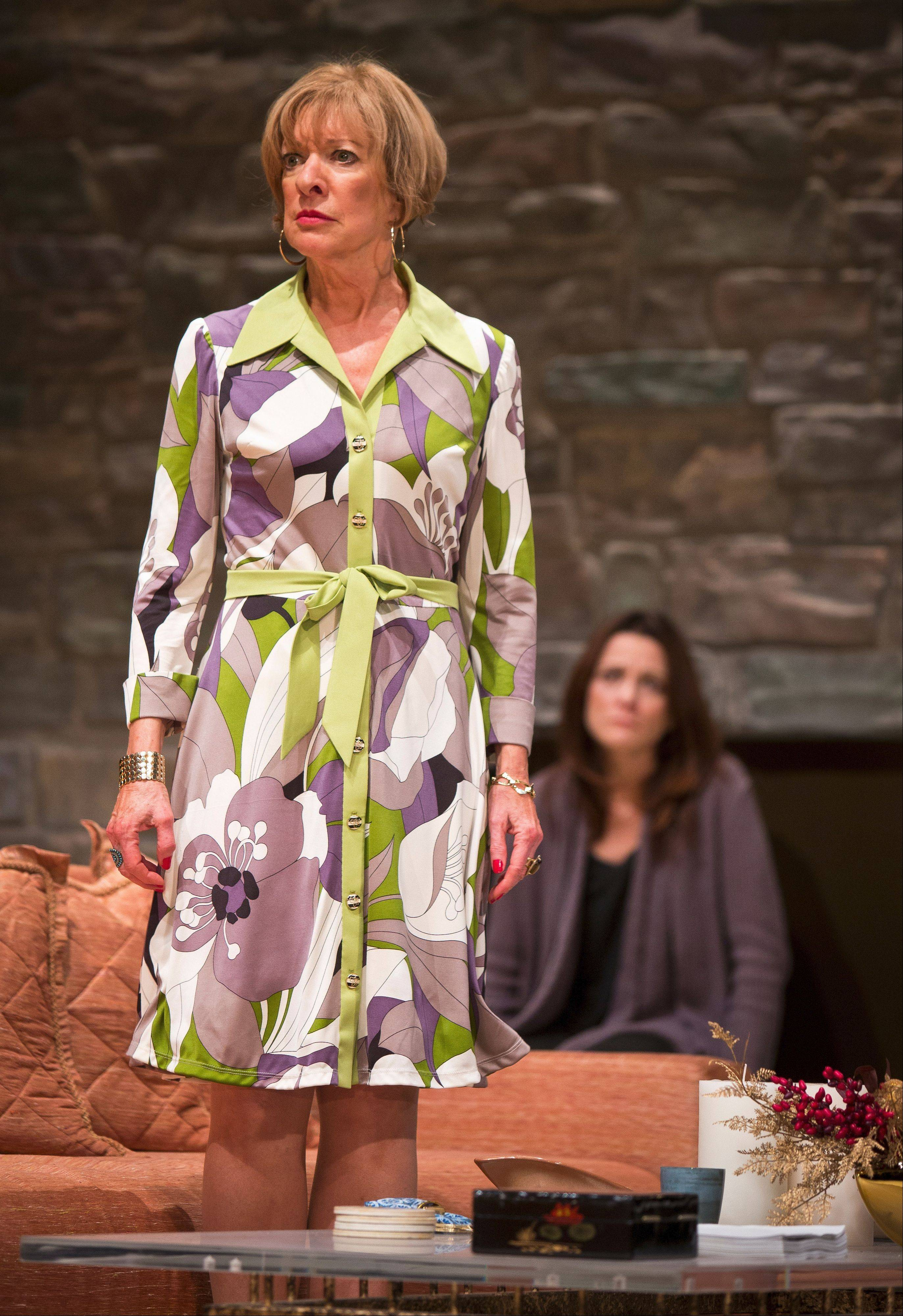 "Linda Kimbrough, left, plays Silda Grauman, the far-left counterpart to her Reagan Republican sister Polly in Goodman Theatre's Chicago-area premiere of Jon Robin Baitz's Tony Award-nominated ""Other Desert Cities."""