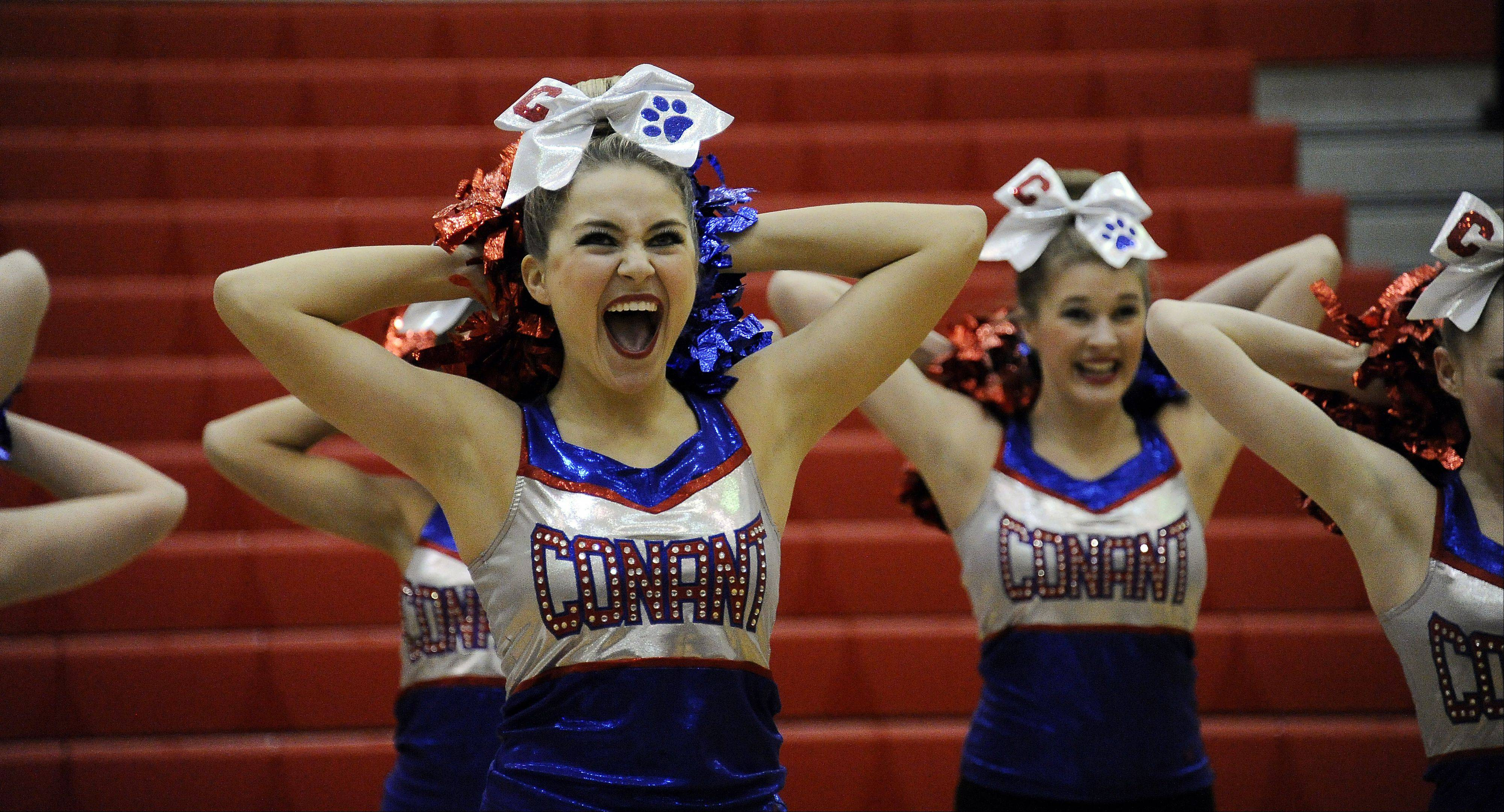 Conant High School's squad, with Ava Snaidauf at center, competes in the sectional Saturday at Palatine High School.