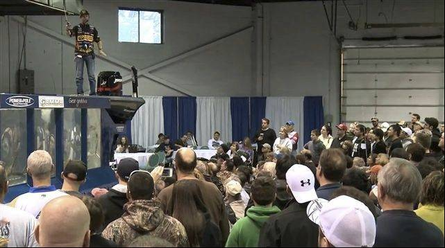 A crowd gathers for one of the many demonstrations held at the 2012 show.