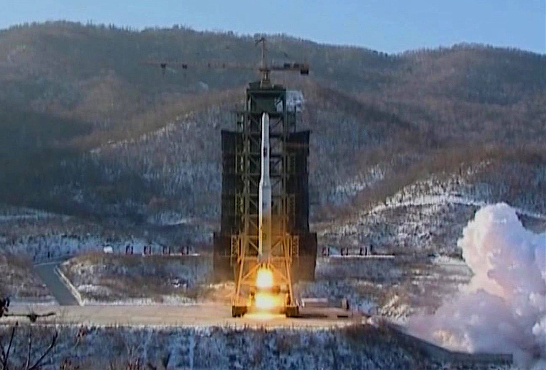 In this Dec. 12, 2012 image, North Korea's Unha-3 rocket lifts off from the Sohae launching station. North Korea's top governing body warned Thursday, Jan. 24, 2013 that the regime will conduct its third nuclear test in defiance of U.N. punishment, and made clear that its long-range rockets are designed to carry not only satellites but also warheads aimed at striking the United States.