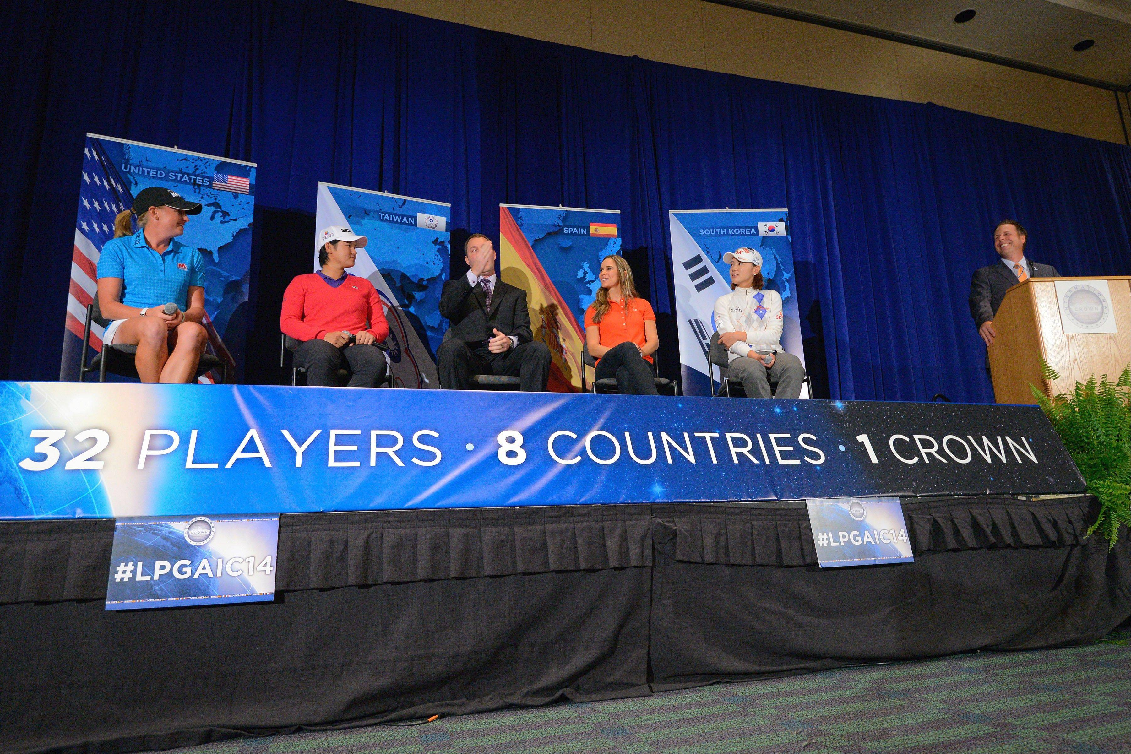 The International Crown, a new LPGA event involving the world's best female golfers, will take place in Maryland in 2014 and move to Rich Harvest Farms in Sugar Grove in 2016. Four top golfers shared the stage Thursday for the announcement with LPGA commissioner Mike Whan.