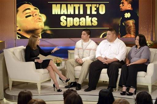 "The person Manti Te'o says was pretending to be his online girlfriend told the Notre Dame linebacker ""I love you"" in voicemails that were played during his interview with Katie Couric. Taped earlier this week and broadcast Thursday, the hour-long talk show featured three voicemails that Te'o claims were left for him last year."